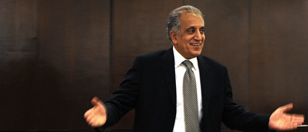 US politician Zalmay Khalilzad gestures as he talks to local and international media representatives in the basement of The Serena Hotel in Kabul on March 12, 2009. Zalmay Khalilzad ended his three days trip to Afghanistan and talked to Afghan President Haimd Karzai and other Afghan officials. AFP PHOTO/Massoud HOSSAINI