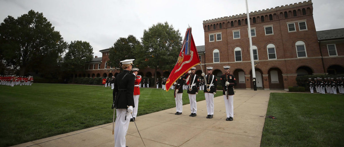 WASHINGTON, DC - OCTOBER 23: U.S. Marines participate in a ceremony to commemorate the anniversary of the 1983 bombing of the Marine barracks in Beirut, Lebanon, at the Marine barracks on October 23, 2017 in Washington, DC. 34 years ago today terrorist detonated two truck bombs at a building that housed U.S. troops, killing 220 Marines, 18 sailors and 3 soldiers. (Photo by Mark Wilson/Getty Images)