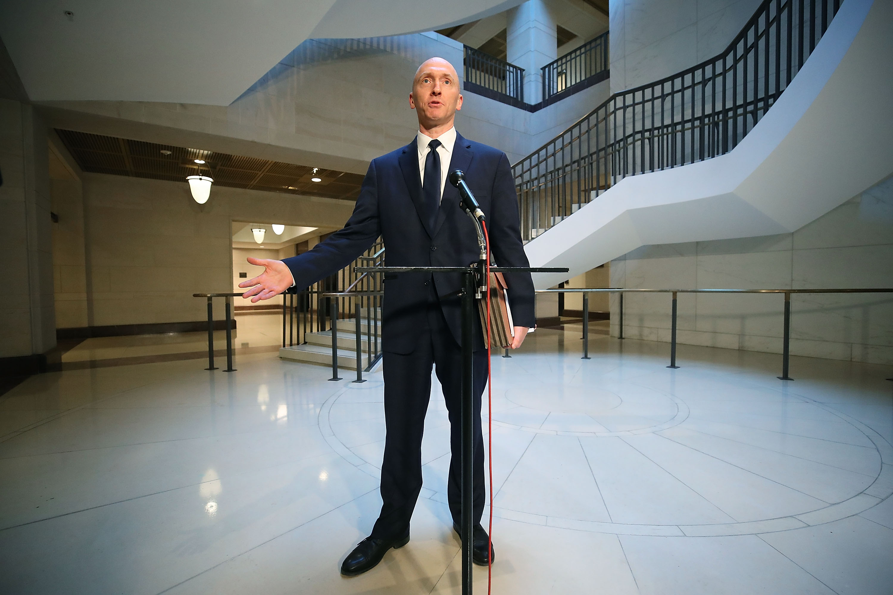 Carter Page, former foreign policy adviser for the Trump campaign, speaks to the media after testifying before the House Intelligence Committee on November 2, 2017 in Washington, DC. The committee is conducting an investigation into Russia's tampering in the 2016 election. (Photo by Mark Wilson/Getty Images)