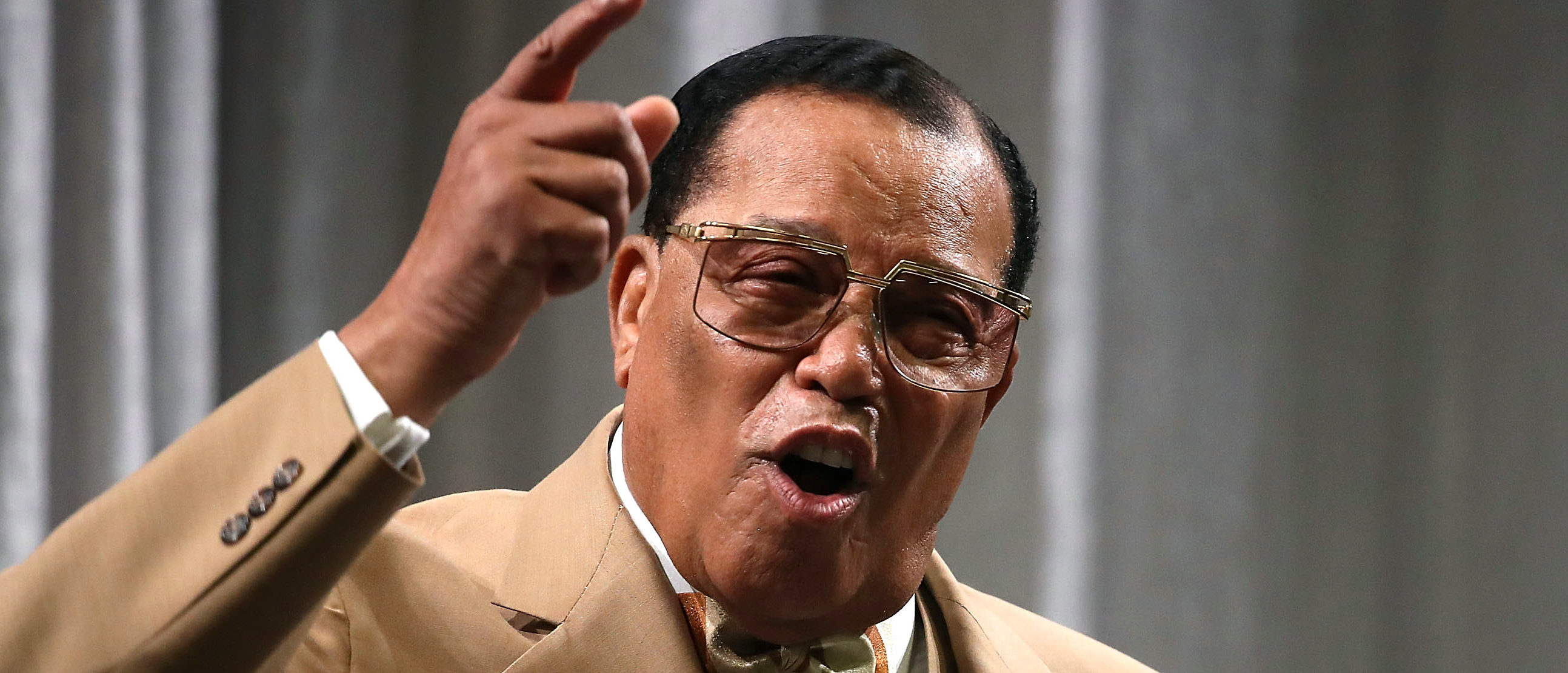 WASHINGTON, DC - NOVEMBER 16: Nation of Islam Minister Louis Farrakhan delivers a speech and talks about U.S. President Donald Trump, at the Watergate Hotel, on November 16, 2017 in Washington, DC. (Mark Wilson/Getty Images)
