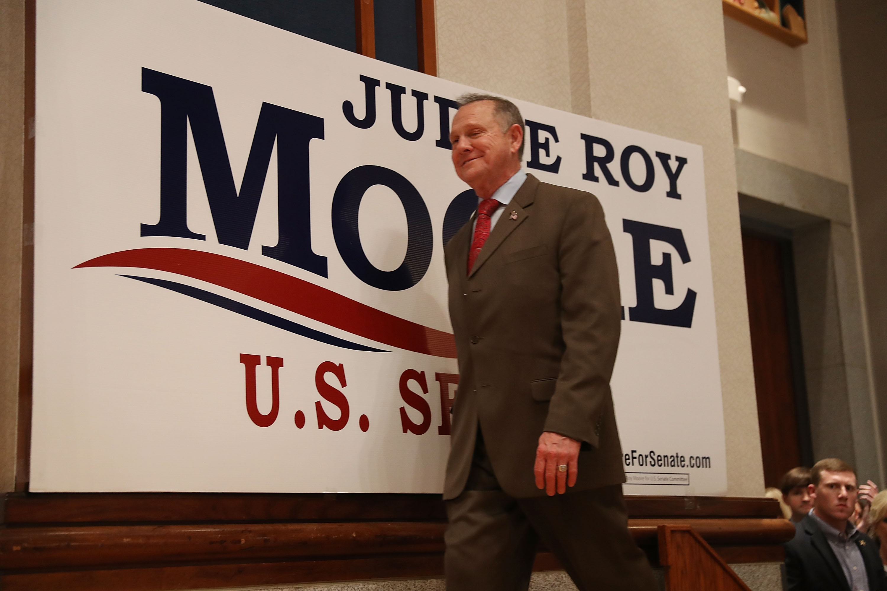 MONTGOMERY, AL - DECEMBER 12: Republican Senatorial candidate Roy Moore arrives on stage to speak about the race against his Democratic opponent Doug Jones is too close and there will be a recount during his election night party in the RSA Activity Center on December 12, 2017 in Montgomery, Alabama. The candidates are running in a special election to replace Attorney General Jeff Sessions in the U.S. Senate. (Photo by Joe Raedle/Getty Images)