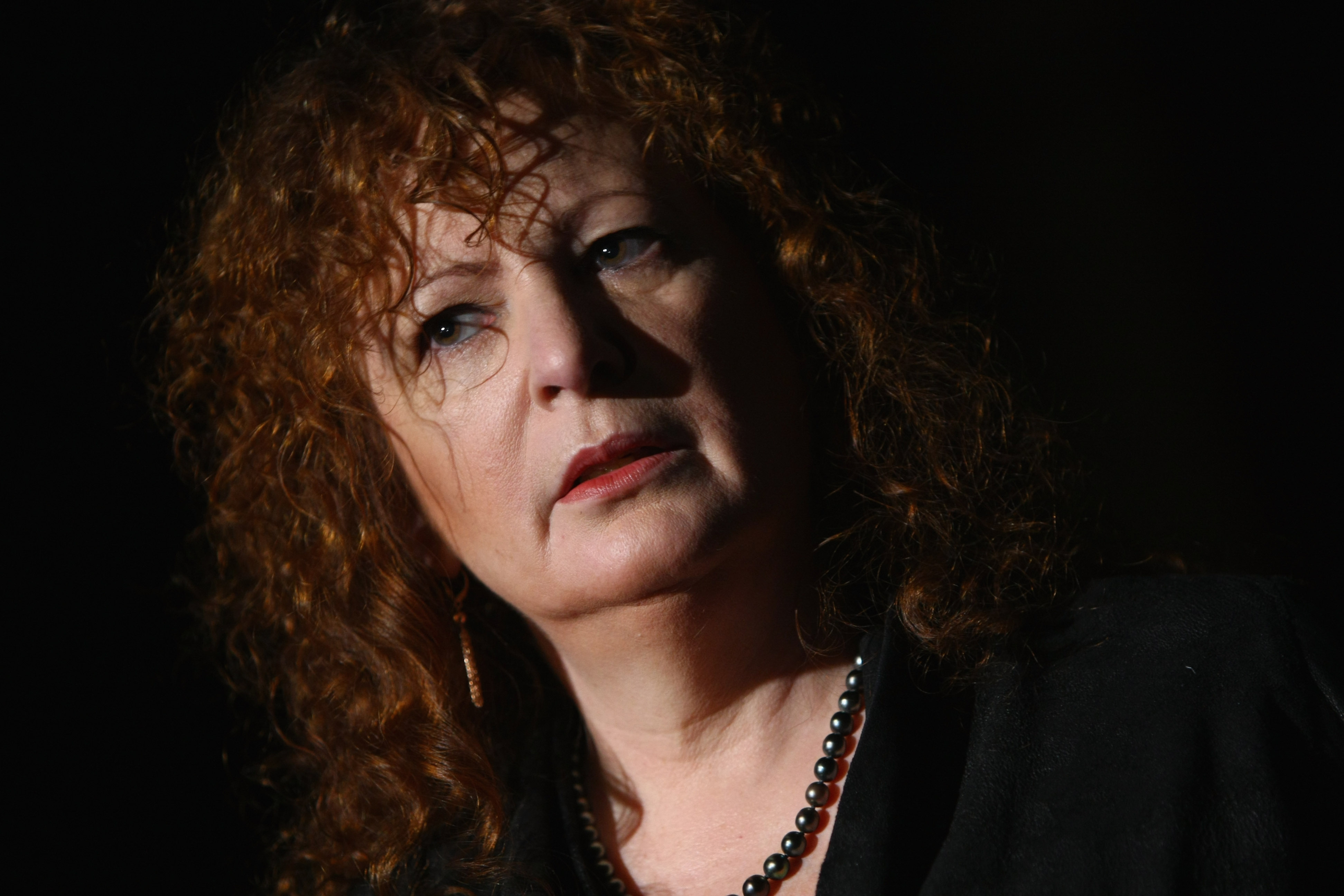 "American photographer Nan Goldin speaks to journalists at the ""Poste Restante"" exhibition of her work at the C/O Gallery on October 9, 2009 in Berlin, Germany. (Sean Gallup/Getty Images)"