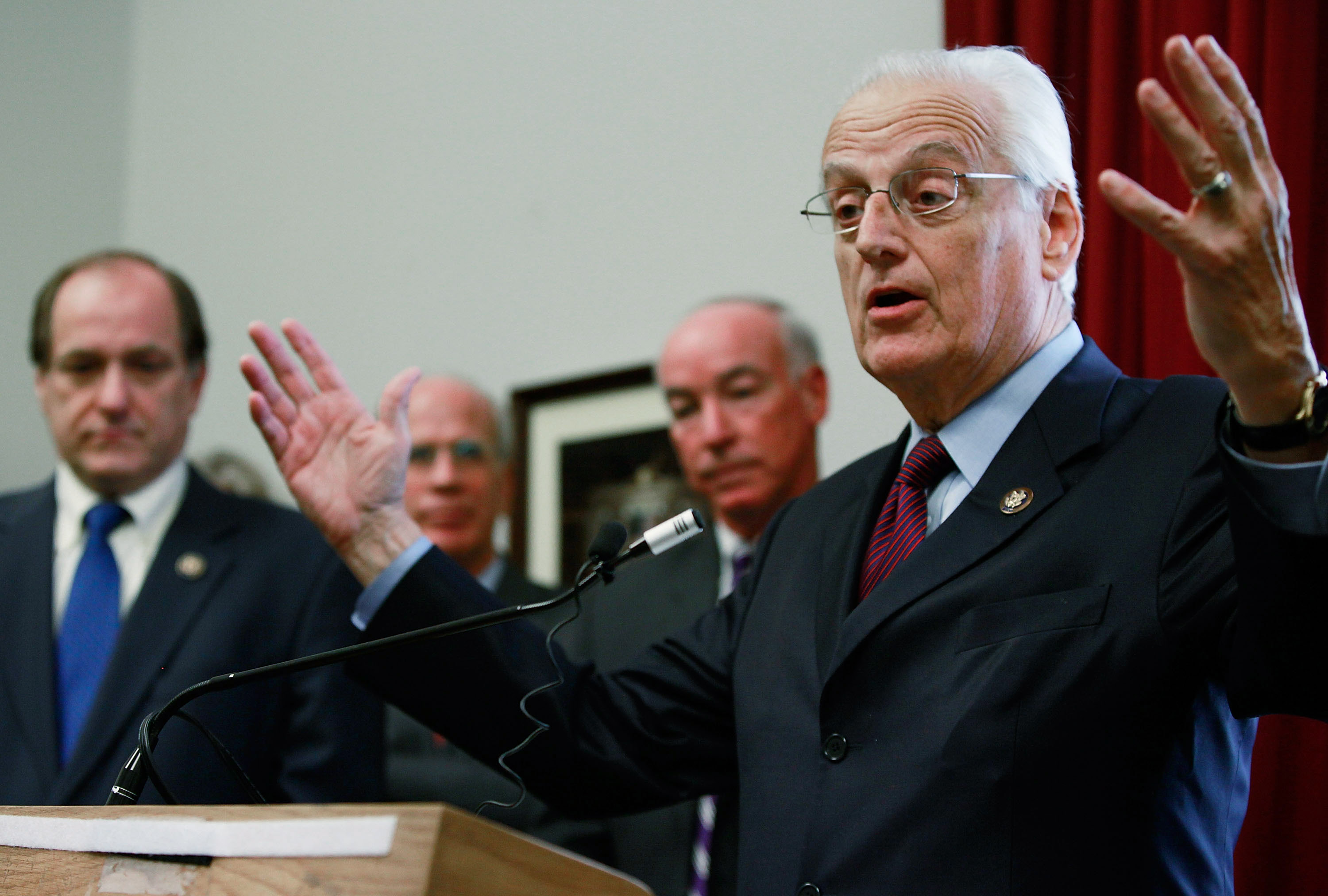 Rep. Bill Pascrell, Jr. (D-NJ)(R), speaks about high ticket prices while flanked by Rep. Michael E. Capuano (D-MA)(L), Rep. Peter Welch (D-VT)(2nd-L) and Rep. Joe Courtney (D-CT)(2nd-R) during a news conference on Capitol Hill, December 16, 2009 in Washington, DC. (Photo by Mark Wilson/Getty Images)