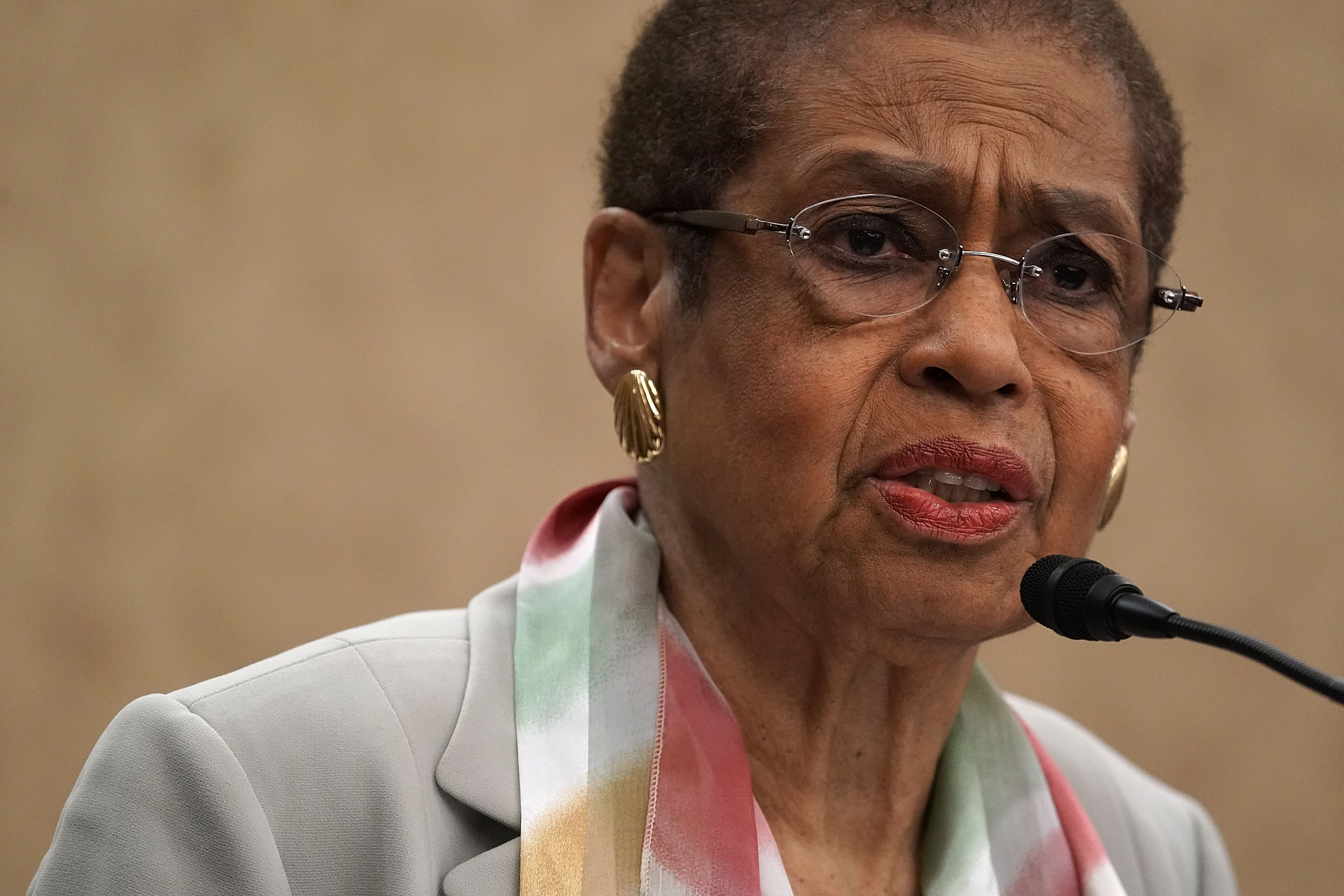 "WASHINGTON, DC - MAY 02: U.S. Del. Eleanor Holmes Norton (D-DC) speaks during a news conference May 2, 2018 on Capitol Hill in Washington, DC. Del. Holmes Norton held a news conference to discuss ""efforts to protect D.C.'s local laws during the FY2019 appropriations process, including gun safety, anti-discrimination, labor, marijuana and abortion.Ó (Photo by Alex Wong/Getty Images)"