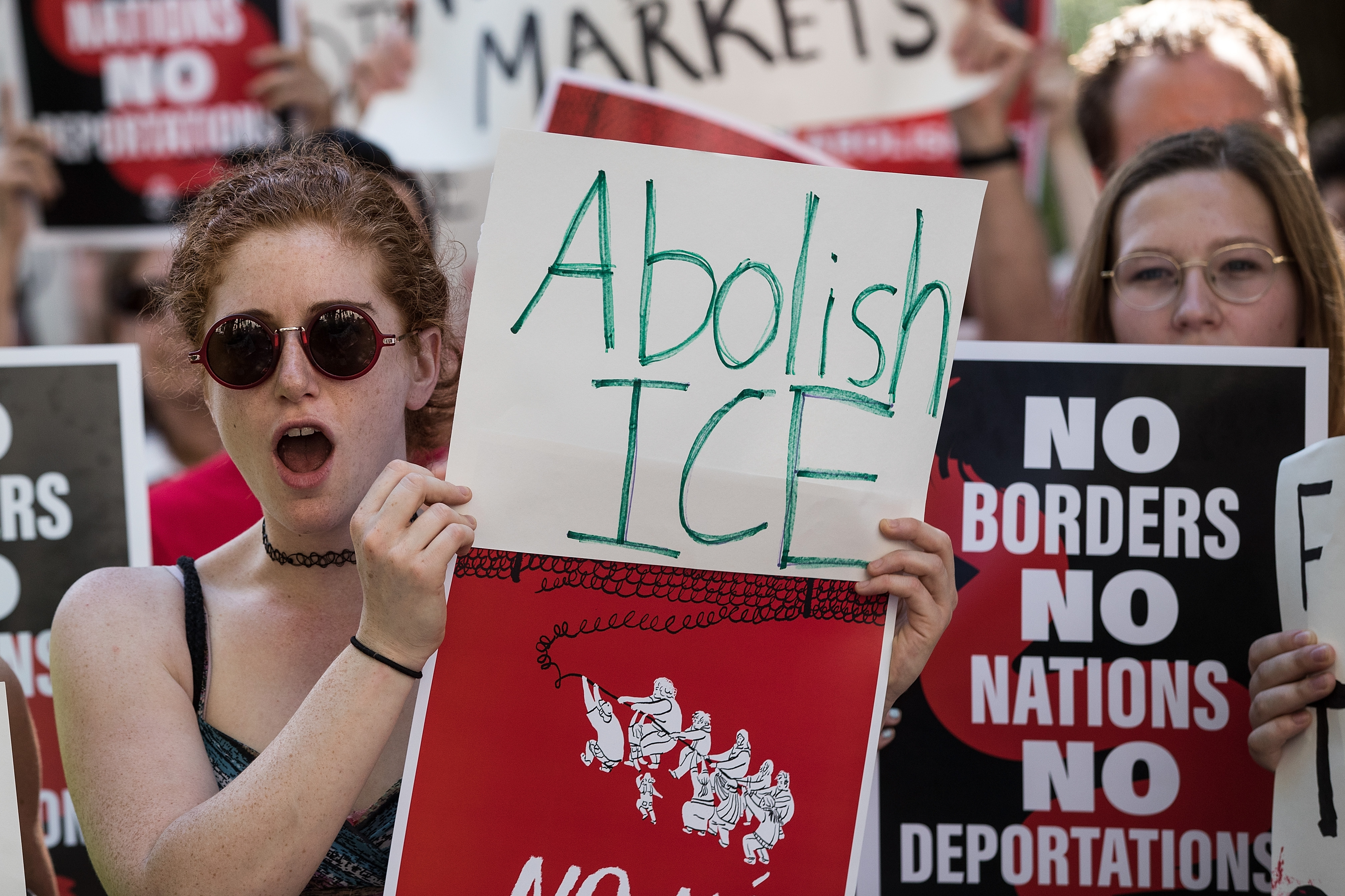 Activists march and rally against Immigration and Customs Enforcement (ICE) and the Trump administration's immigration policies, near the ICE offices in Federal Plaza, June 29, 2018 in New York City. (Photo by Drew Angerer/Getty Images)