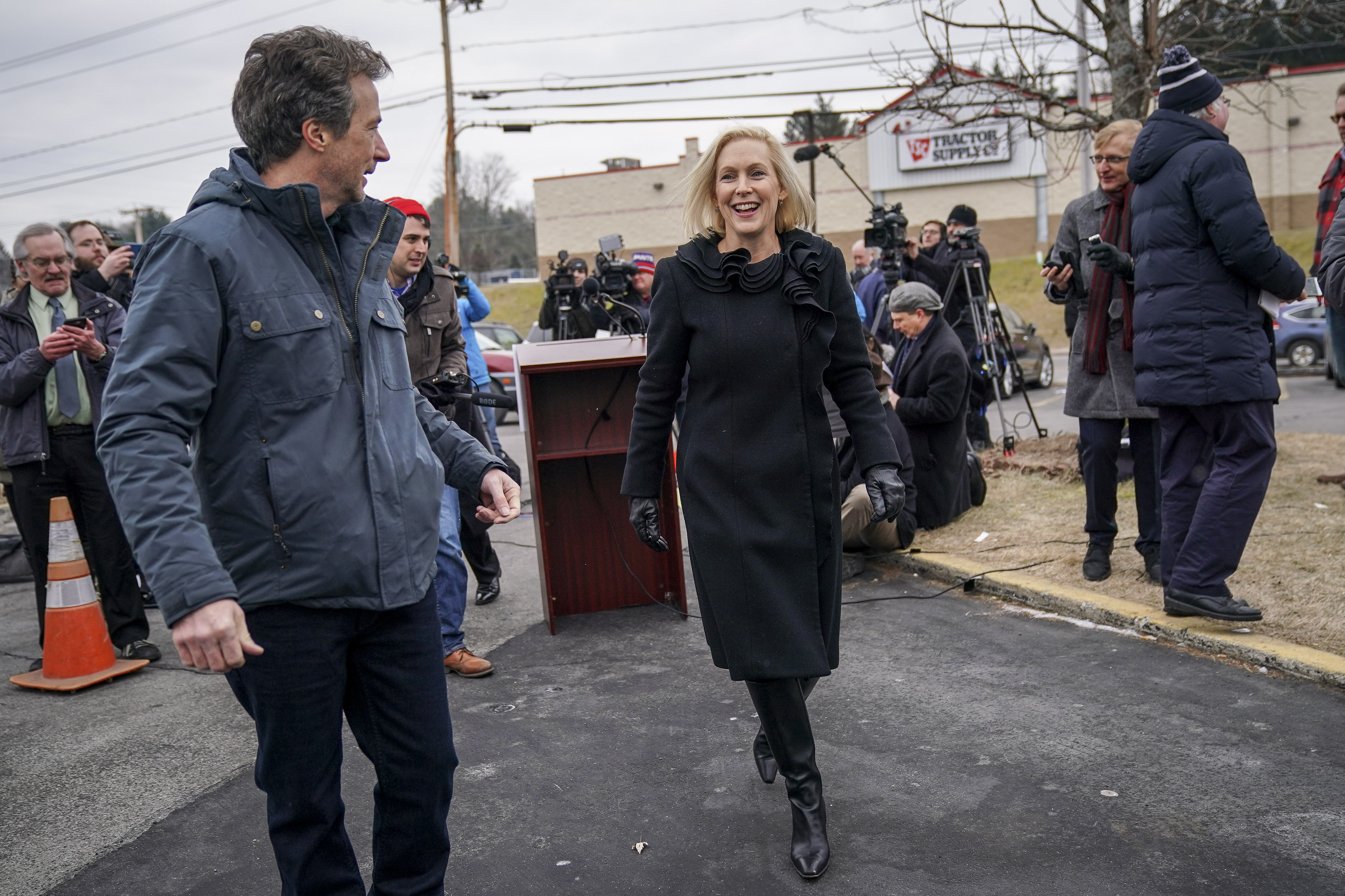 Sen. Kirsten Gillibrand and her husband Jonathan Gillibrand walk together after a media availability announcing she will run for president in 2020 (Drew Angerer/Getty Images)