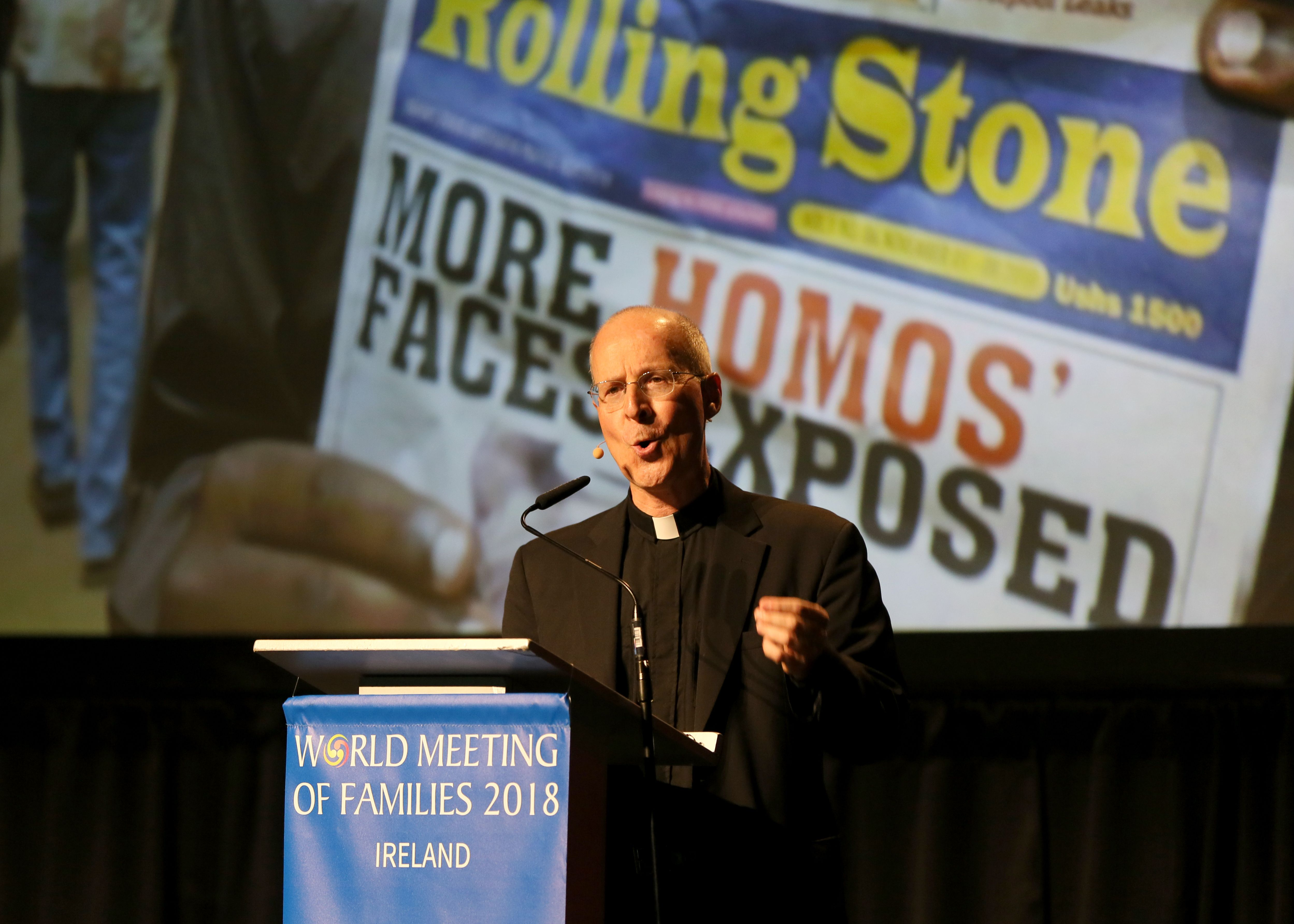 US Jesuit priest James Martin speaks at the World Meeting of Families in Dublin on August 23, 2018. (PAUL FAITH/AFP/Getty Images)