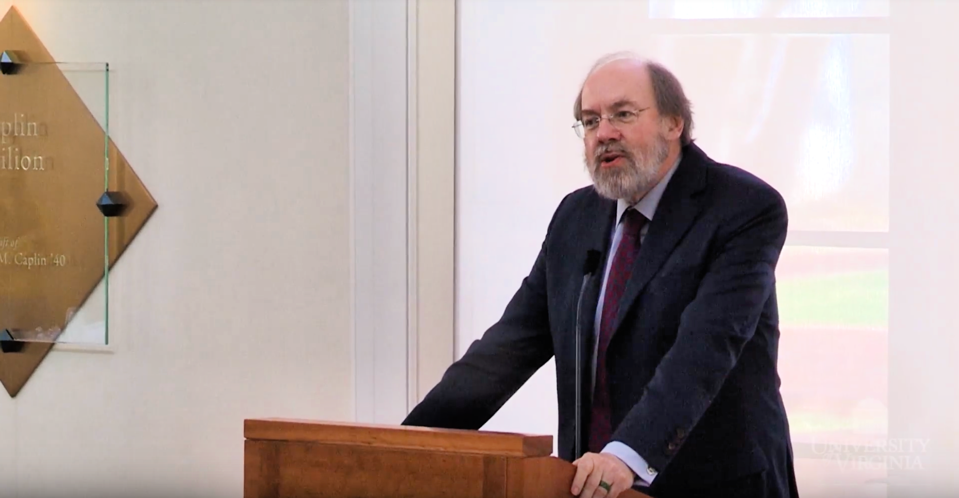 Judge Frank Easterbrook speaks at the University of Virginia School of Law in April 2018. (YouTube screenshot)
