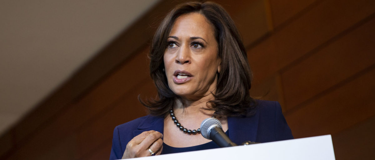 Sen. Kamala Harris speaks to reporters after announcing her candidacy for President (Al Drago/Getty Images)