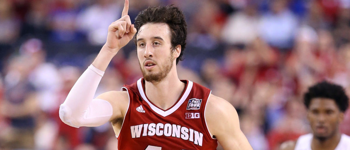 INDIANAPOLIS, IN - APRIL 06: Frank Kaminsky #44 of the Wisconsin Badgers reacts after a play in the second half against the Duke Blue Devils during the NCAA Men's Final Four National Championship at Lucas Oil Stadium on April 6, 2015 in Indianapolis, Indiana. (Photo by Andy Lyons/Getty Images)
