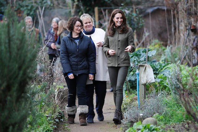 Britain's Catherine, Duchess of Cambridge is given a tour of allotments as she visits the King Henry's Walk Garden in Islington, London, Britain January 15, 2019. Tolga Akmen/Pool via REUTERS