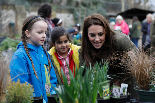 Britain's Catherine, Duchess of Cambridge speaks with children as she visits the King Henry's Walk Garden in Islington, London, Britain January 15, 2019. Tolga Akmen/Pool via REUTERS