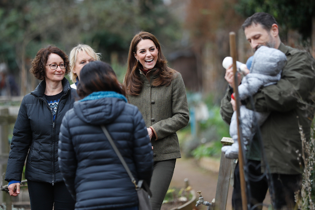 Catherine, Duchess of Cambridge meets a young baby as she visits Islington Community Garden on January 15, 2019 in London, England. (Photo by Tolga Akmen - WPA Pool/Getty Images)