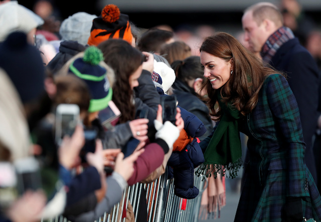 "Catherine, Duchess of Cambridge greets the crowd after visiting the ""V&A Dundee"" museum in Dundee, Scotland, January 29, 2019. REUTERS/Russell Cheyne"