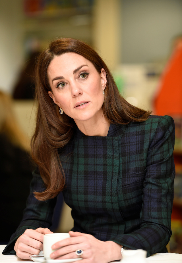 Catherine, Duchess of Cambridge visits a community centre in Dundee to meet with employees and their families from the local Michelin tyre factory which is to cease production, in Dundee, Scotland, January 29, 2019. Ian Rutherford/Pool via REUTERS