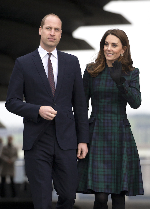 Prince William, Duke of Cambridge and Catherine, Duchess of Cambridge, who are known as the Duke and Duchess of Strathearn in Scotland, during a visit to officially open the V&A Dundee, Scotland's first design museum on January 29, 2019 in Dundee, Scotland. (Photo by Jane Barlow - WPA Pool/Getty Images)