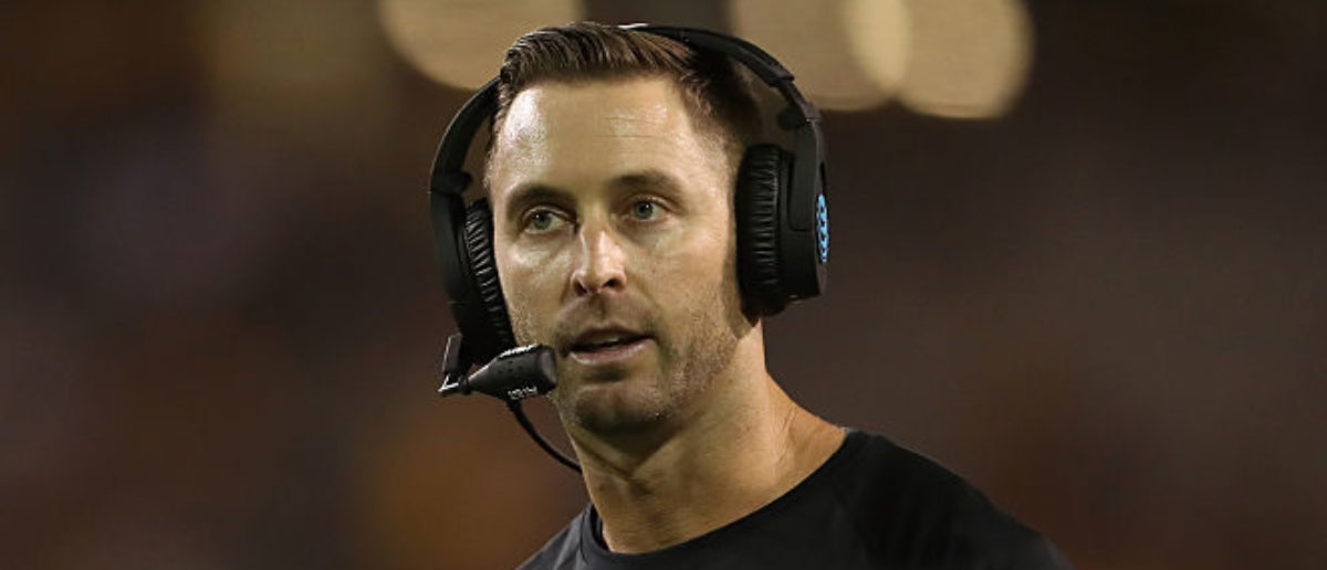 TEMPE, AZ - SEPTEMBER 10: Head coach Kliff Kingsbury of the Texas Tech Red Raiders reacts on the sidelines during the first half of the college football game against the Arizona State Sun Devils at Sun Devil Stadium on September 10, 2015 in Tempe, Arizona. (Photo by Christian Petersen/Getty Images)