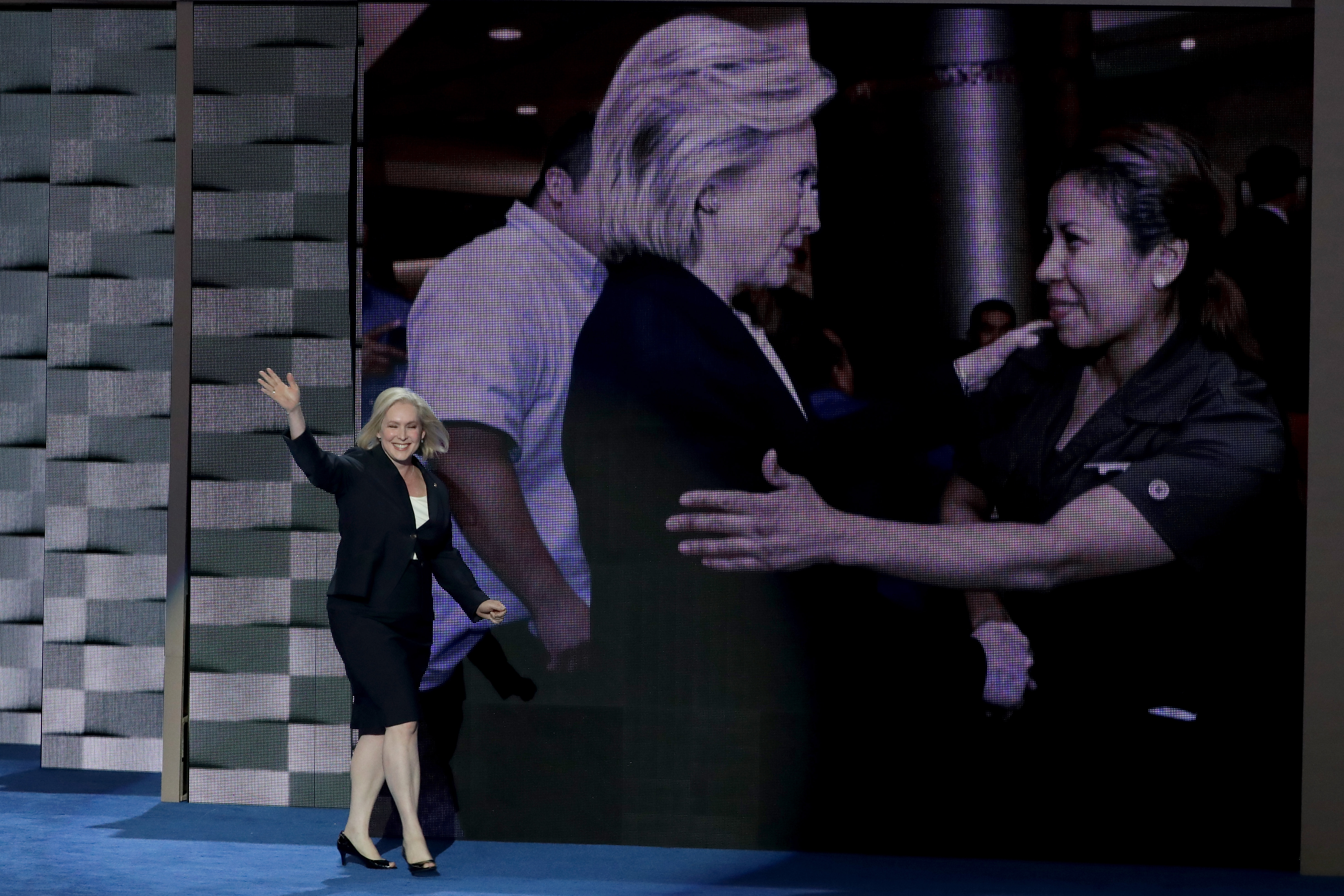 Sen. Kirsten Gillibrand walks on stage to deliver remarks on the first day of the Democratic National Convention (Alex Wong/Getty Images)