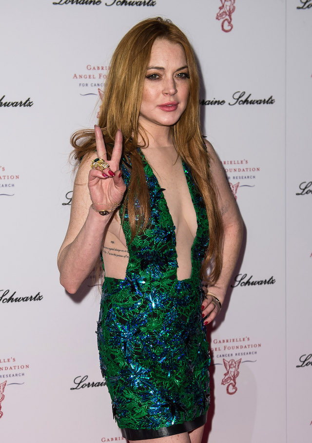 Lindsay Lohan attends Gabrielle's Gala at Old Billingsgate Market on May 7, 2014 in London, England. Gabrielle's Gala is an annual fundraiser in aid of Gabrielle's Angel Foundation for Cancer. (Photo by Ian Gavan/Getty Images)