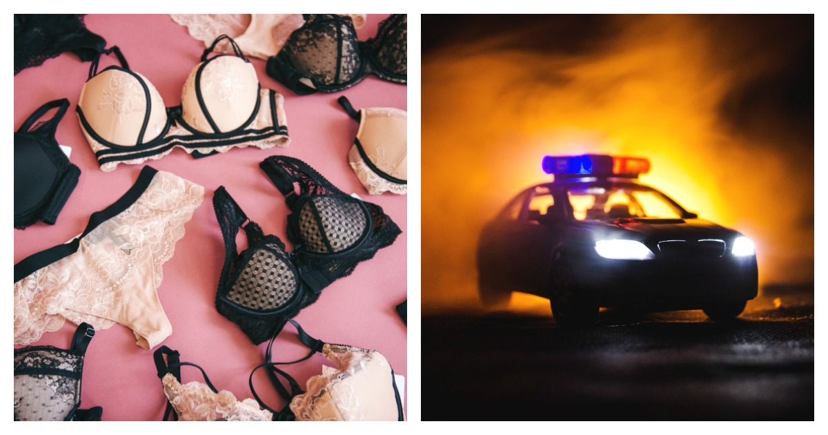 A suspected shoplifter led a police chase while leaving a trail of lingerie.Left, SHUTTERSTOCK/NazarBazar/ Right, SHUTTERSTOCK/ Ilkin Zeferli