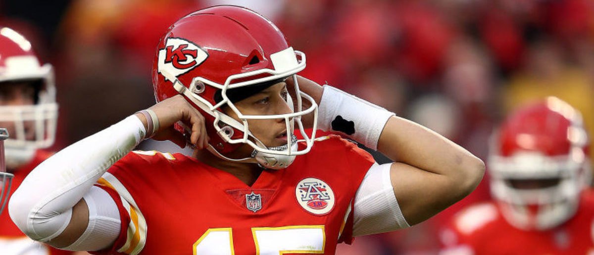KANSAS CITY, MISSOURI - DECEMBER 30: Quarterback Patrick Mahomes #15 of the Kansas City Chiefs in action during the game against the Oakland Raiders at Arrowhead Stadium on December 30, 2018 in Kansas City, Missouri. (Photo by Jamie Squire/Getty Images)
