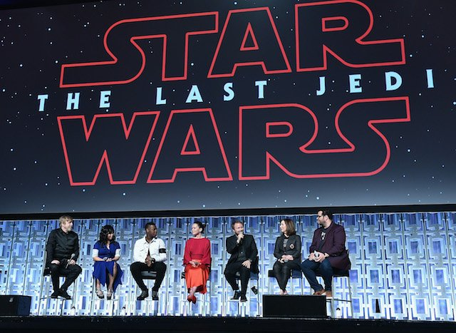 Mark Hamill, Kelly Marie Tran ,John Boyega, Daisy Ridley, Rian Johnson, Kathleen Kennedy and Josh Gad attend the Star Wars Celebration day 02 on April 14, 2017 in Orlando, Florida. (Photo by Gustavo Caballero/Getty Images)