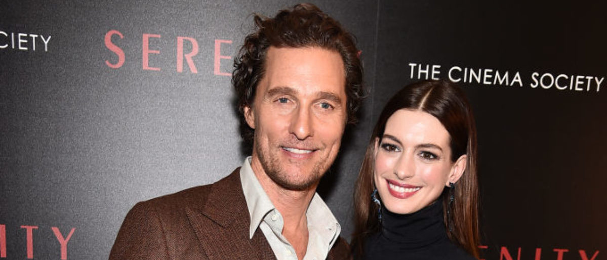 """NEW YORK, NEW YORK - JANUARY 23: Matthew McConaughey and Anne Hathaway attend the """"Serenity"""" New York Screening at Museum of Modern Art on January 23, 2019 in New York City. (Photo by Theo Wargo/Getty Images)"""