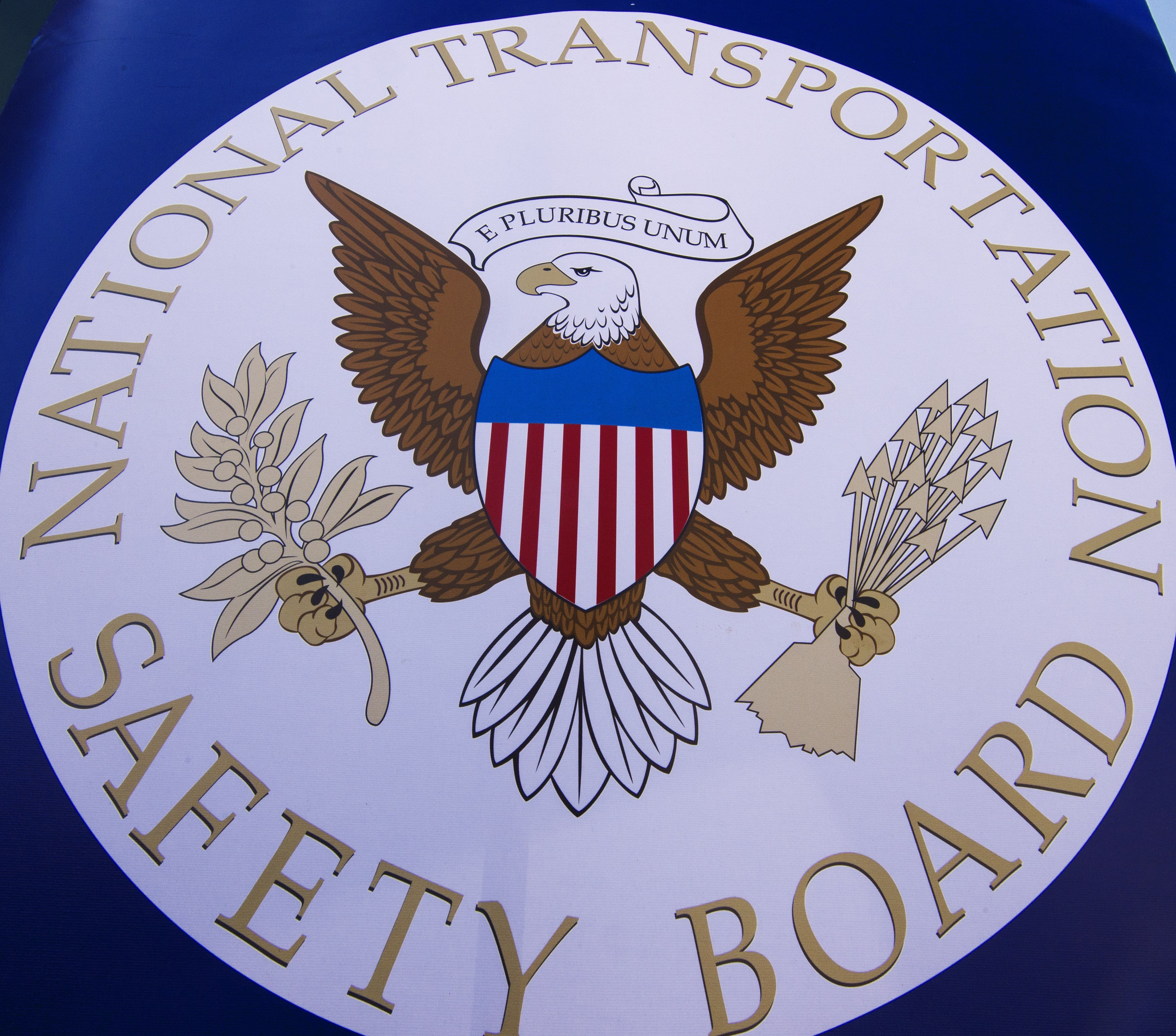 The NTSB logo is seen during a safety event for children at Trailside Middle School, in Ashburn, Virginia August 25, 2015. PAUL J. RICHARDS/AFP/Getty Images