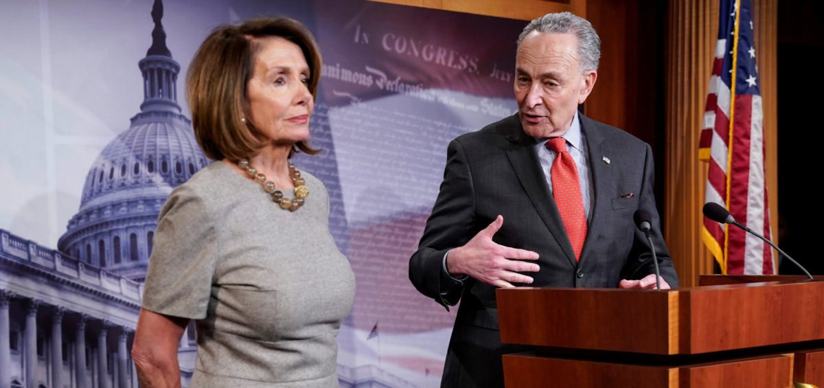 Speaker of the House Nancy Pelosi (D-CA) and Senate Minority Leader Chuck Schumer (D-NY) speak after U.S. President Donald Trump announced a deal to end the partial government shutdown on Capitol Hill in Washington, U.S., January 25, 2019. REUTERS/Joshua Roberts