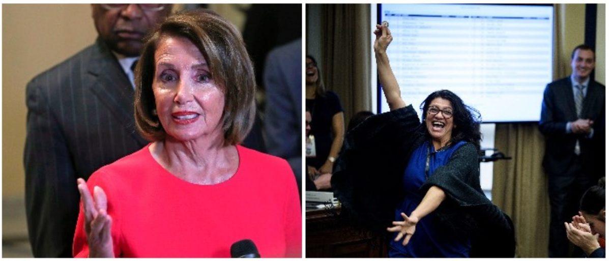 Nancy Pelosi and Rashida Tlaib (ALEX EDELMAN/AFP/Getty Images LEFT: BRENDAN SMIALOWSKI/AFP/Getty Images)