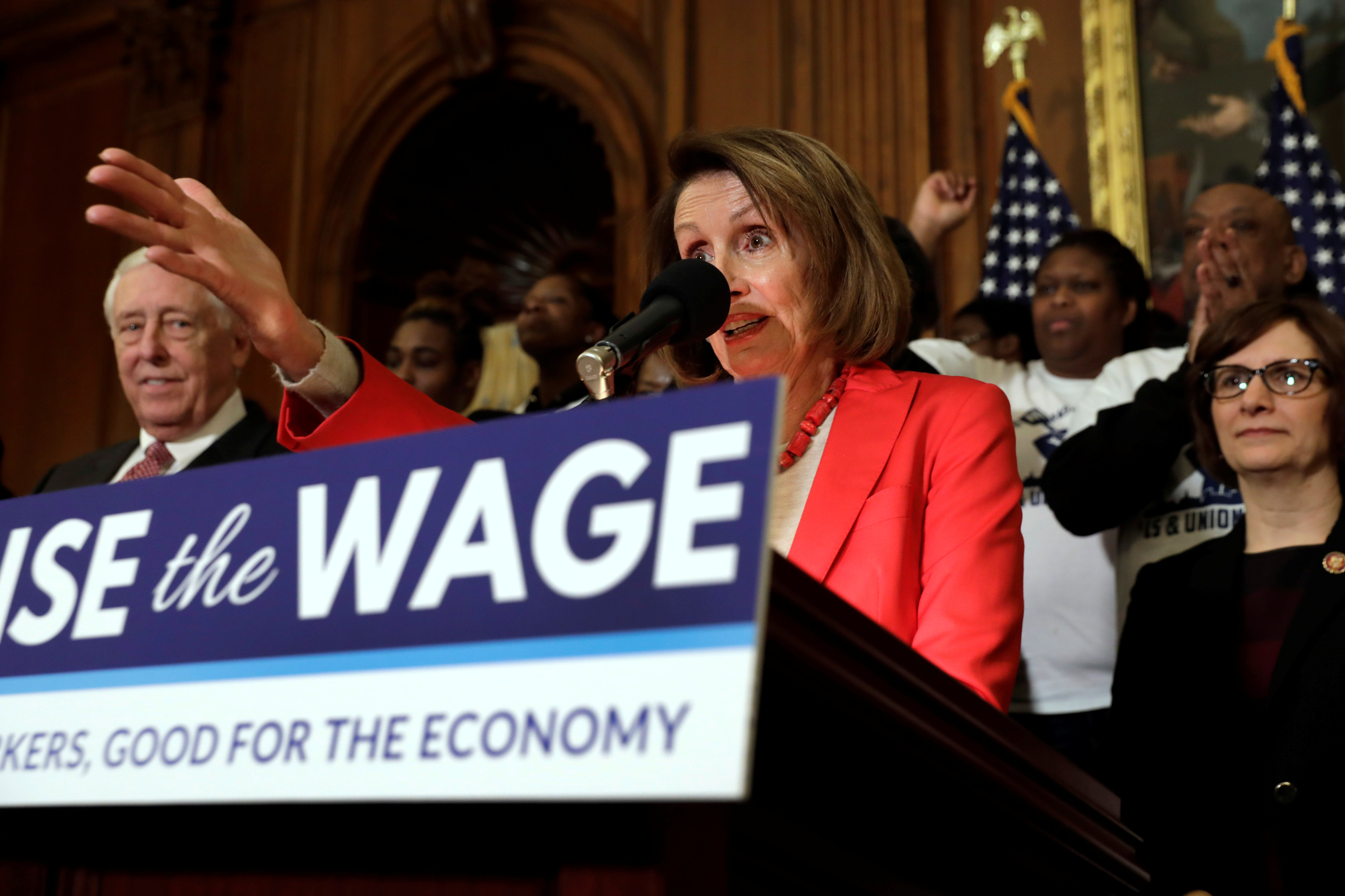 "U.S. House Speaker Nancy Pelosi (D-CA) speaks during a news conference on ""Raise the Wage Act"" legislation on Capitol in Washington, U.S., January 16, 2019. REUTERS/Yuri Gripas"