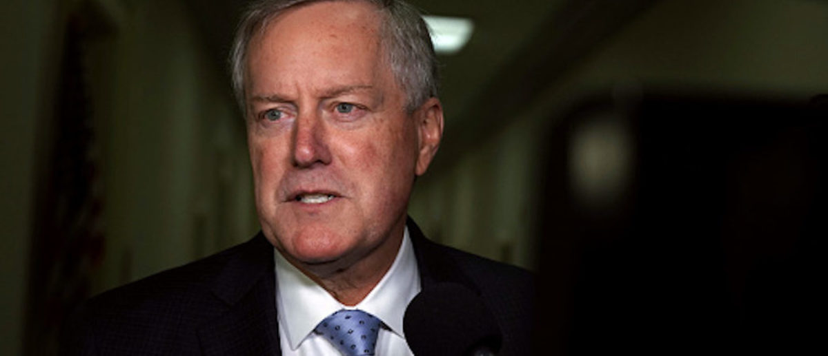 U.S. Rep. Mark Meadows speaks to members of the media as he arrives at the Rayburn House Office Building where former Federal Bureau of Investigation Director James Comey testifies to the House Judiciary and Oversight and Government Reform committees on Capitol Hill Dec. 7, 2018 in Washington, D.C. (Photo by Alex Wong/Getty Images)