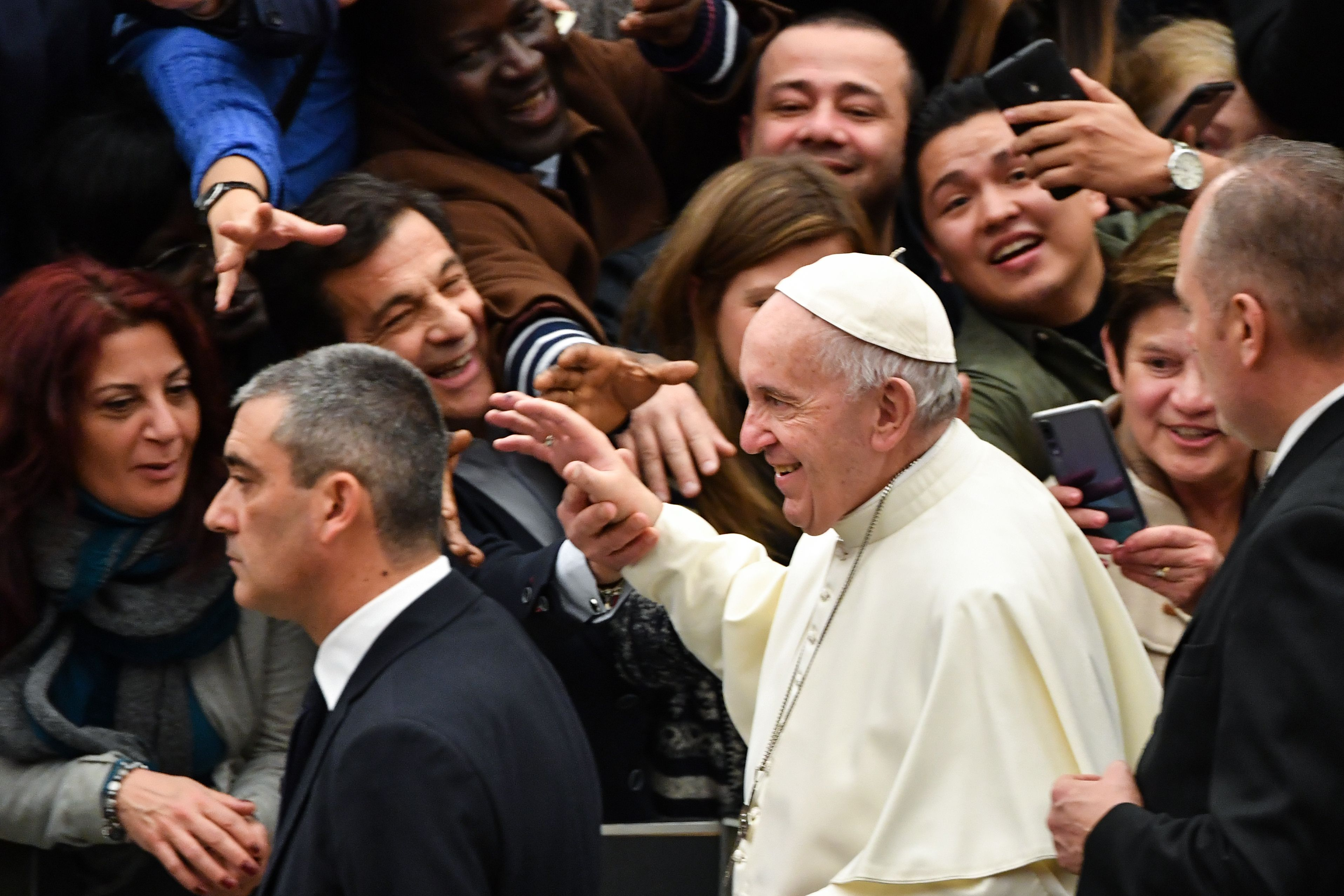 Pope Francis blesses attendees at the end of the weekly general audience on January 9, 2019 at Paul-VI hall in the Vatican. (ANDREAS SOLARO/AFP/Getty Images)