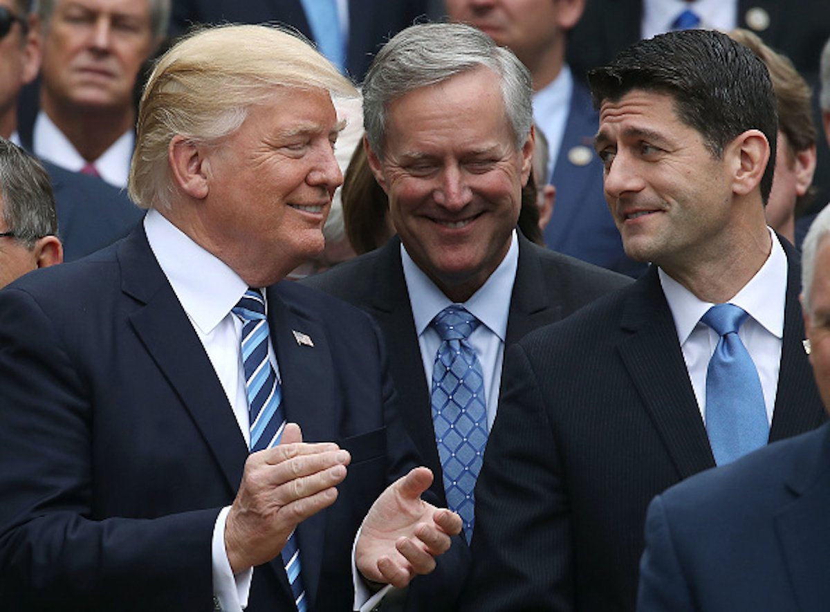 WASHINGTON, DC - MAY 04: U.S. President Donald Trump (L), stands with House Speaker Paul Ryan (R-WI) (R) and Freedom Caucus Chairman Mark Meadows (R-NC), after Republicans passed legislation aimed at repealing and replacing ObamaCare, during an event in the Rose Garden at the White House, on May 4, 2017 in Washington, DC. The House bill would still need to be passed by the Sebate before being signed into law. (Photo by Mark Wilson/Getty Images)