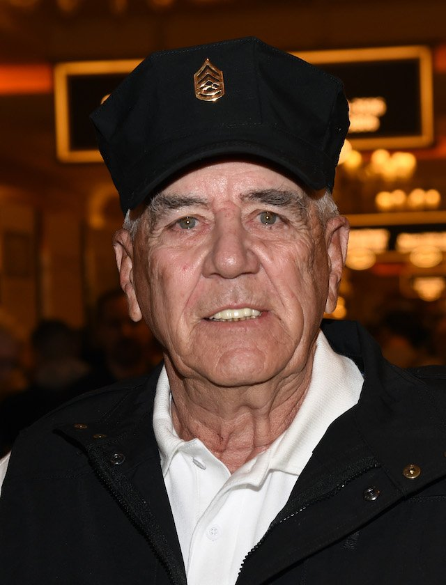 "Actor, television personality and former U.S. Marine Corps gunnery sergeant R. Lee Ermey attends the 2016 National Shooting Sports Foundation's Shooting, Hunting, Outdoor Trade (SHOT) Show to promote his Outdoor Channel show ""Gunnytime with R. Lee Ermey"" at the Sands Expo and Convention Center on January 19, 2016 in Las Vegas, Nevada. The SHOT Show, the world's largest annual trade show for shooting, hunting and law enforcement professionals, runs through January 23 and is expected to feature 1,600 exhibitors showing off their latest products and services to more than 62,000 attendees. (Photo by Ethan Miller/Getty Images)"
