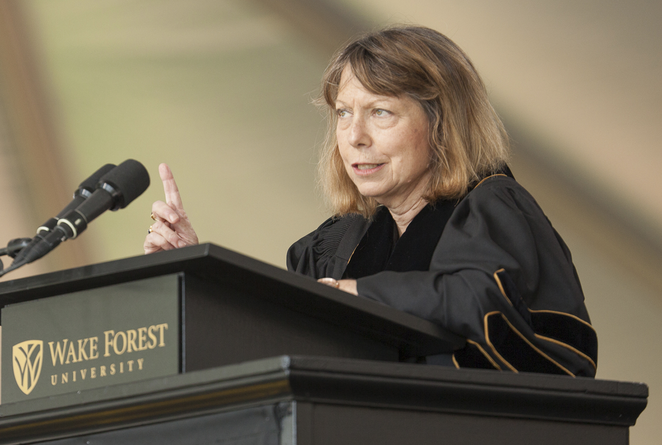 Jill Abramson, former Executive Editor of the New York Times, gives the commencement address at Wake Forest University in Winston-Salem, North Carolina