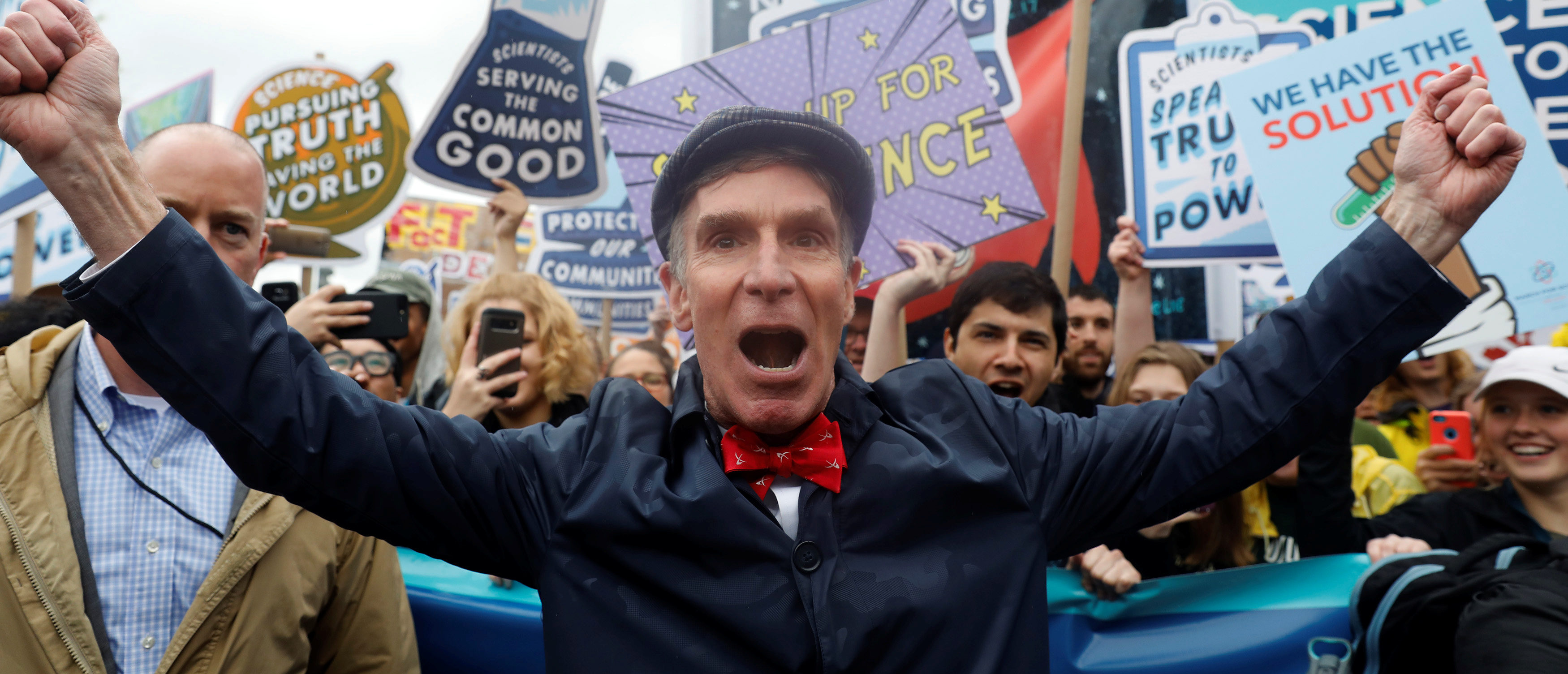 Bill Nye leads demonstrators on a march to the U.S. Capitol during the March for Science in Washington