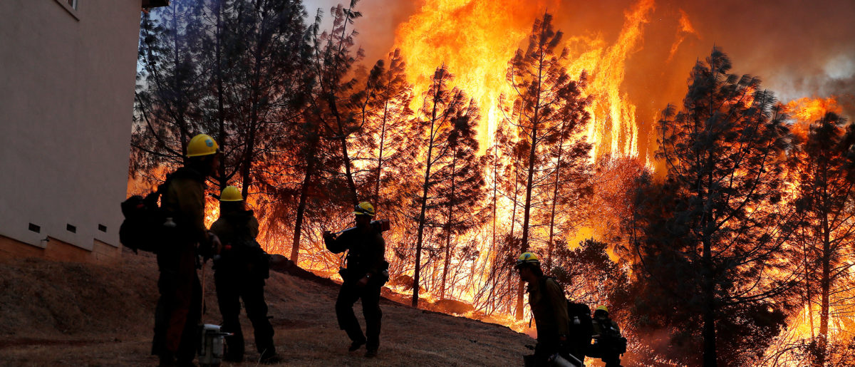 A group of U.S. Forest Service firefighters monitor a back fire while battling to save homes at the Camp Fire in Paradise, California, U.S. November 8, 2018. REUTERS/Stephen Lam.