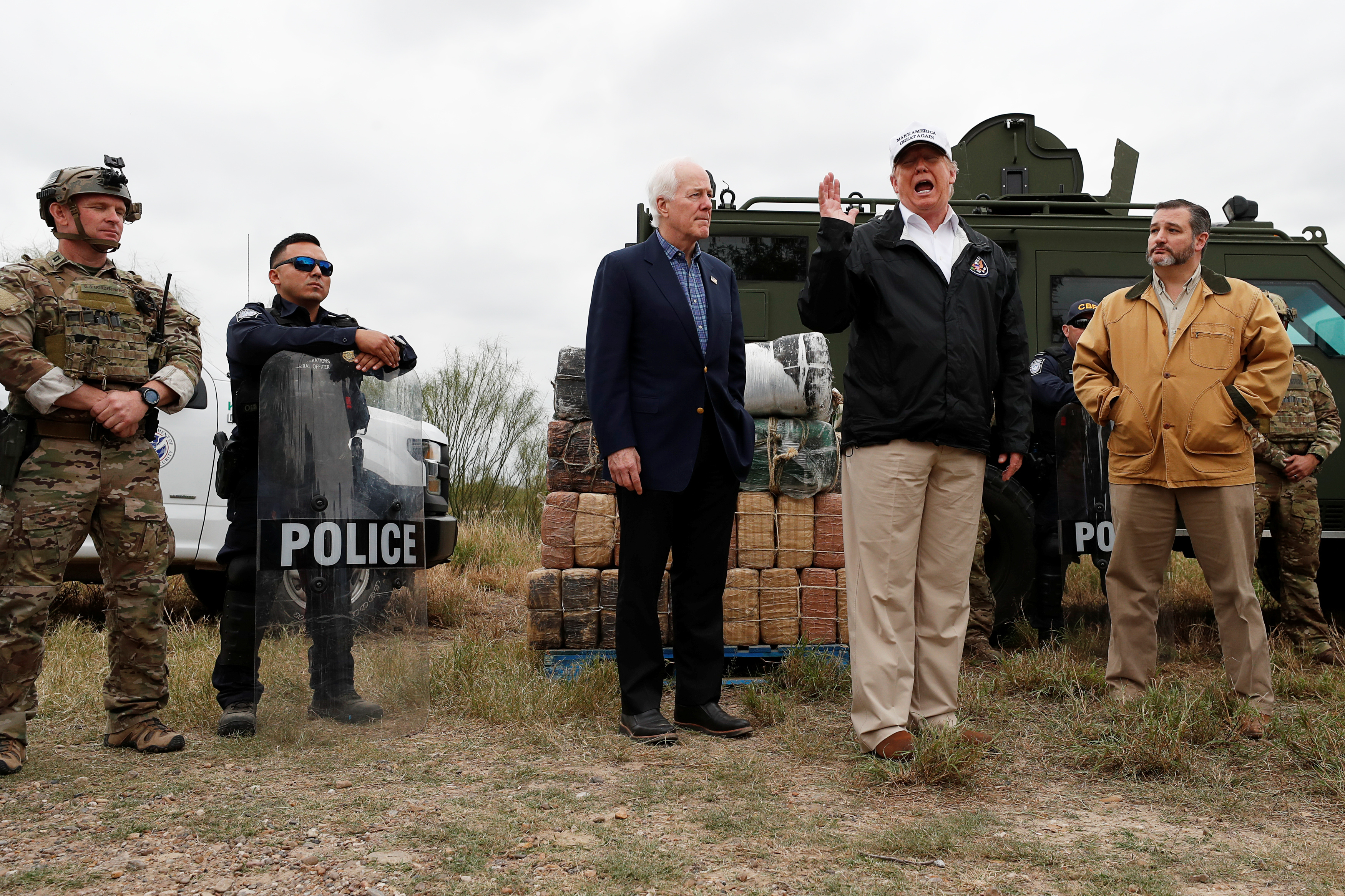 U.S. President Trump visits U.S.-Mexico border in Mission, Texas