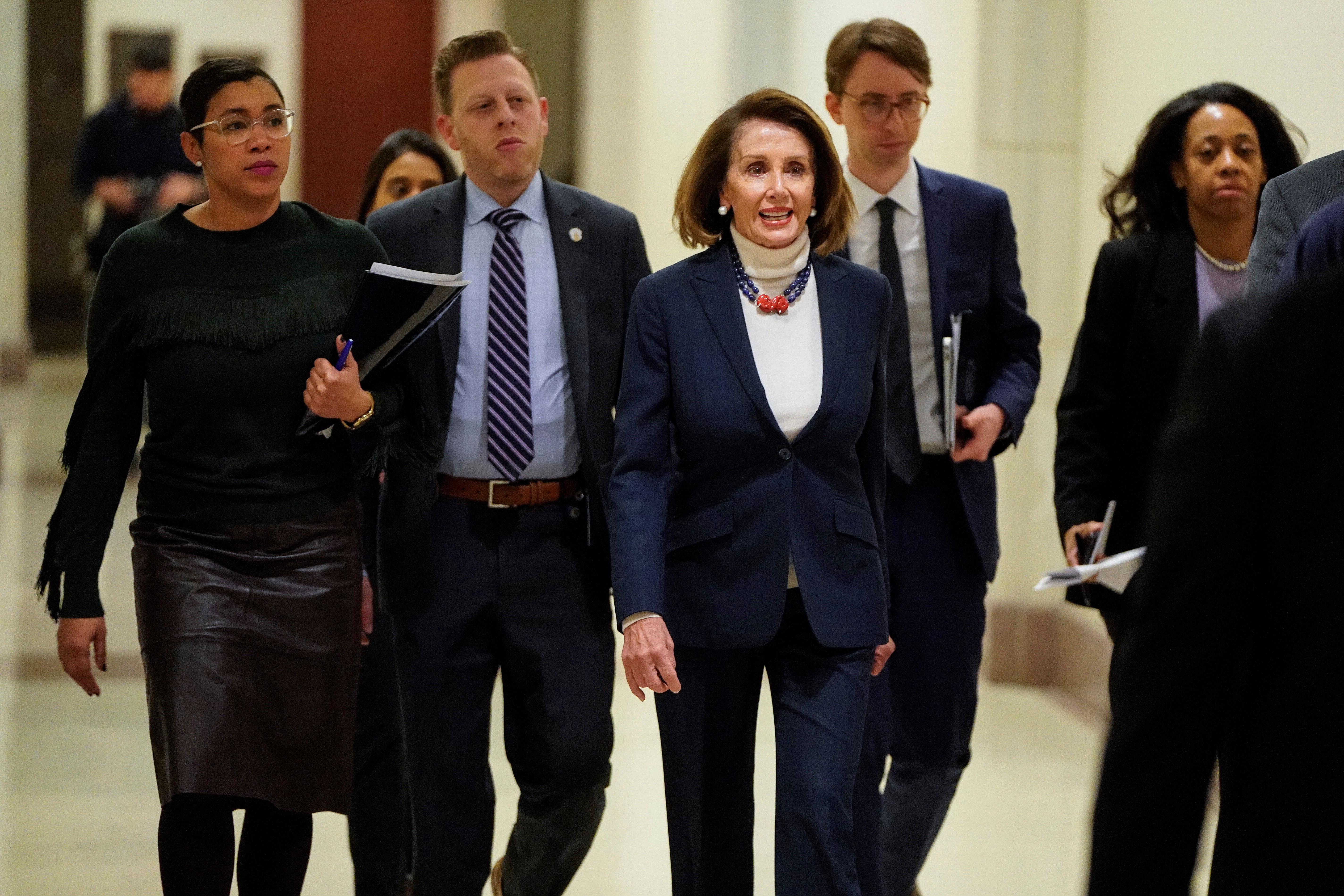 Speaker of the House Nancy Pelosi (D-CA) arrives for a press briefing on the 27th day of a partial government shutdown on Capitol Hill in Washington