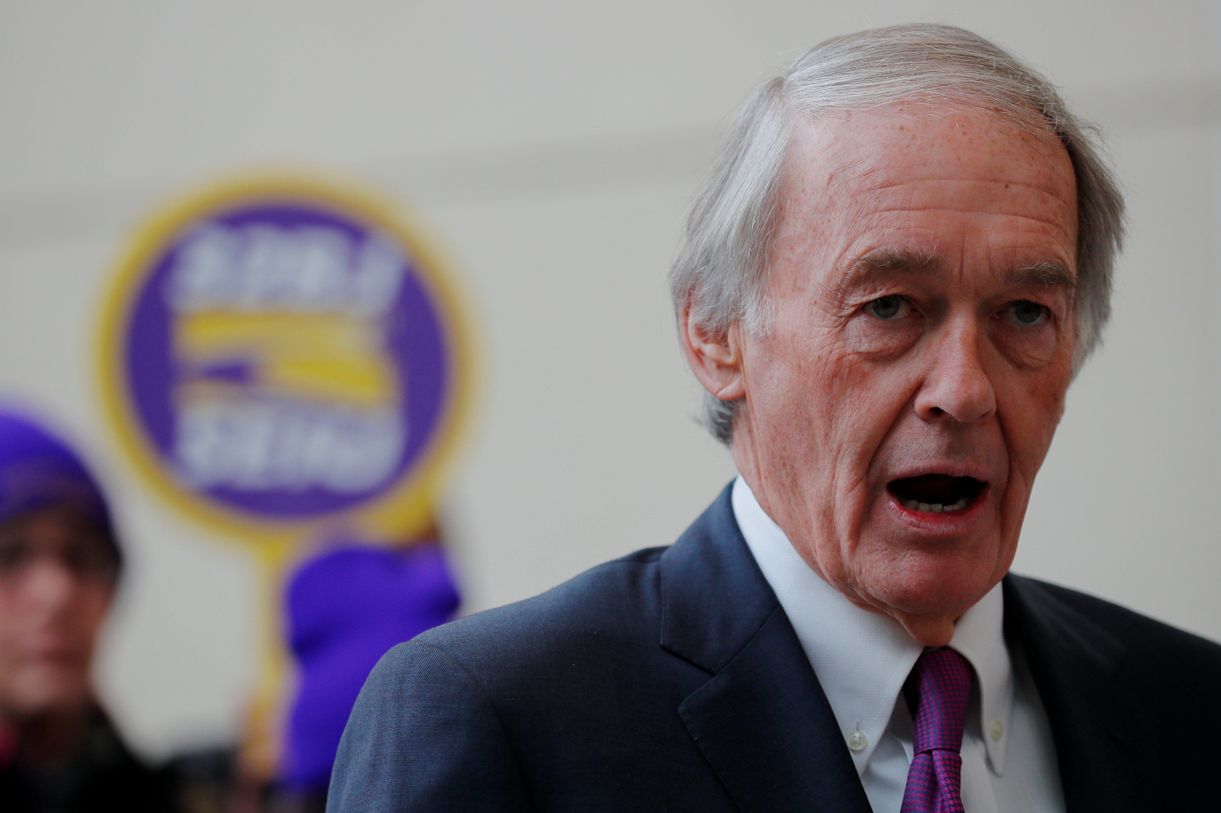 U.S. Senator Ed Markey (D-MA) speaks about federal government employees working without pay at Logan Airport in Boston