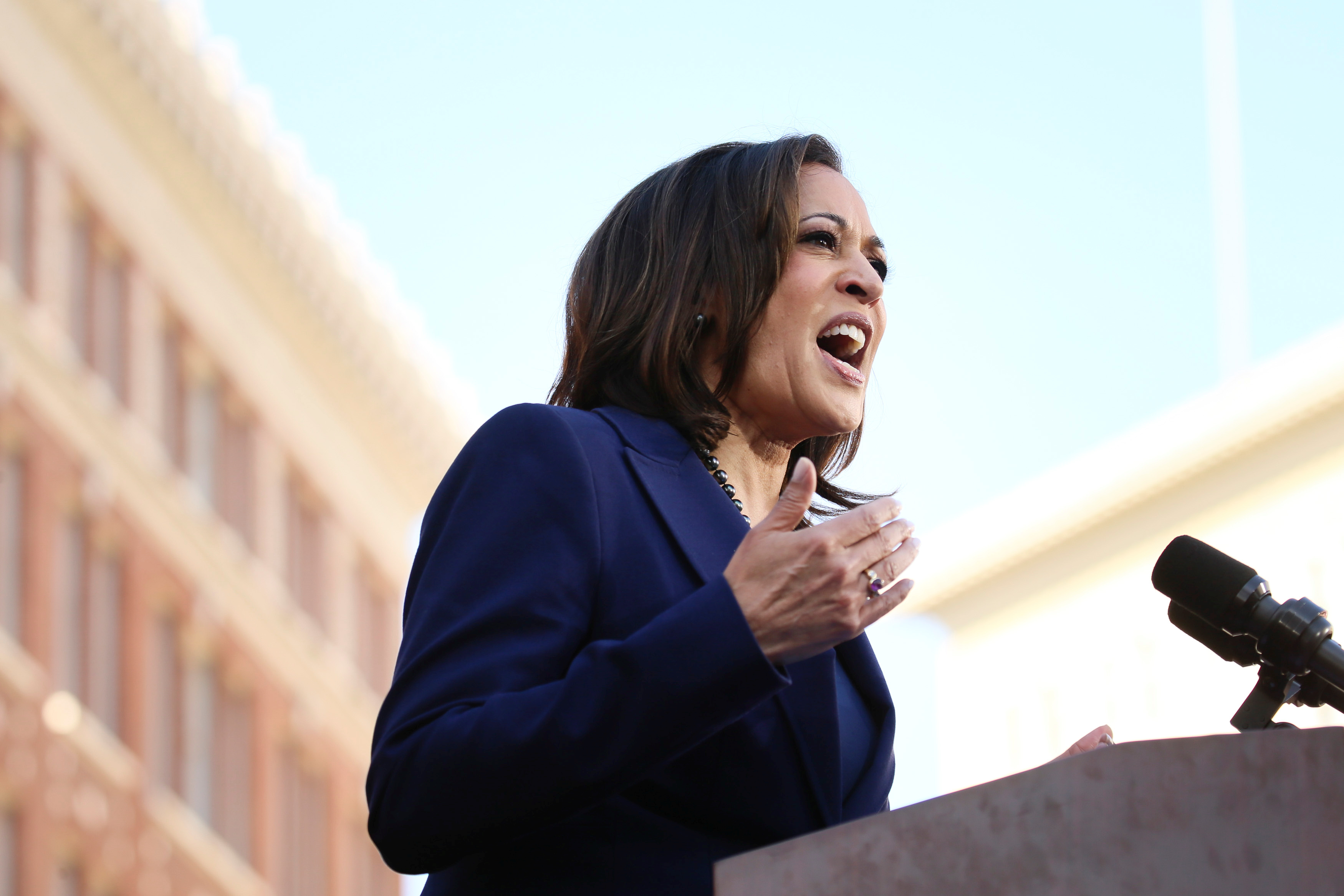 U.S. Senator Harris launches her campaign for President of the United States at a rally at Frank H. Ogawa Plaza in her hometown of Oakland