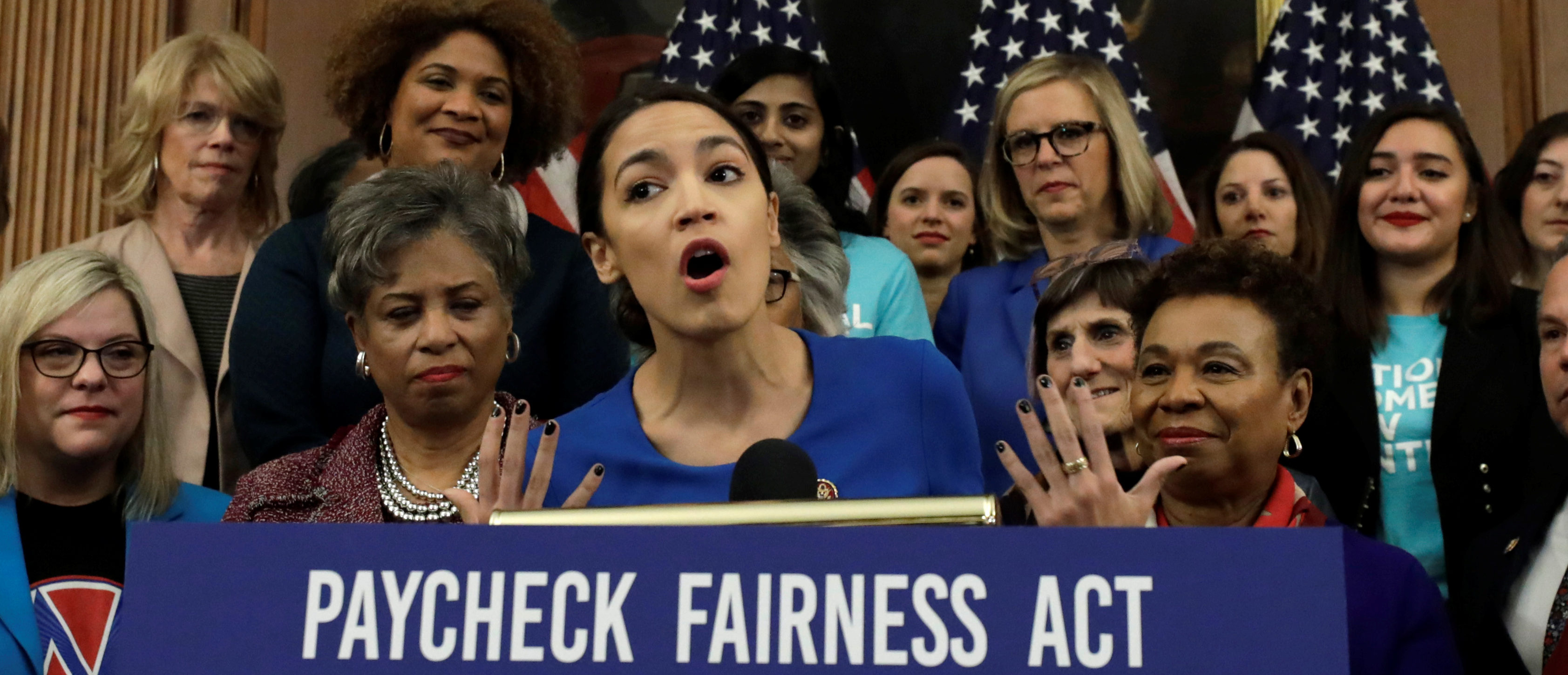 """U.S. Rep. Alexandria Ocasio-Cortez (D-NY) speaks at House Democrats news conference to reintroduce the H.R.7 """"Paycheck Fairness Act"""" on Capitol Hill in Washington, U.S., January 30, 2019. REUTERS/Yuri Gripas"""