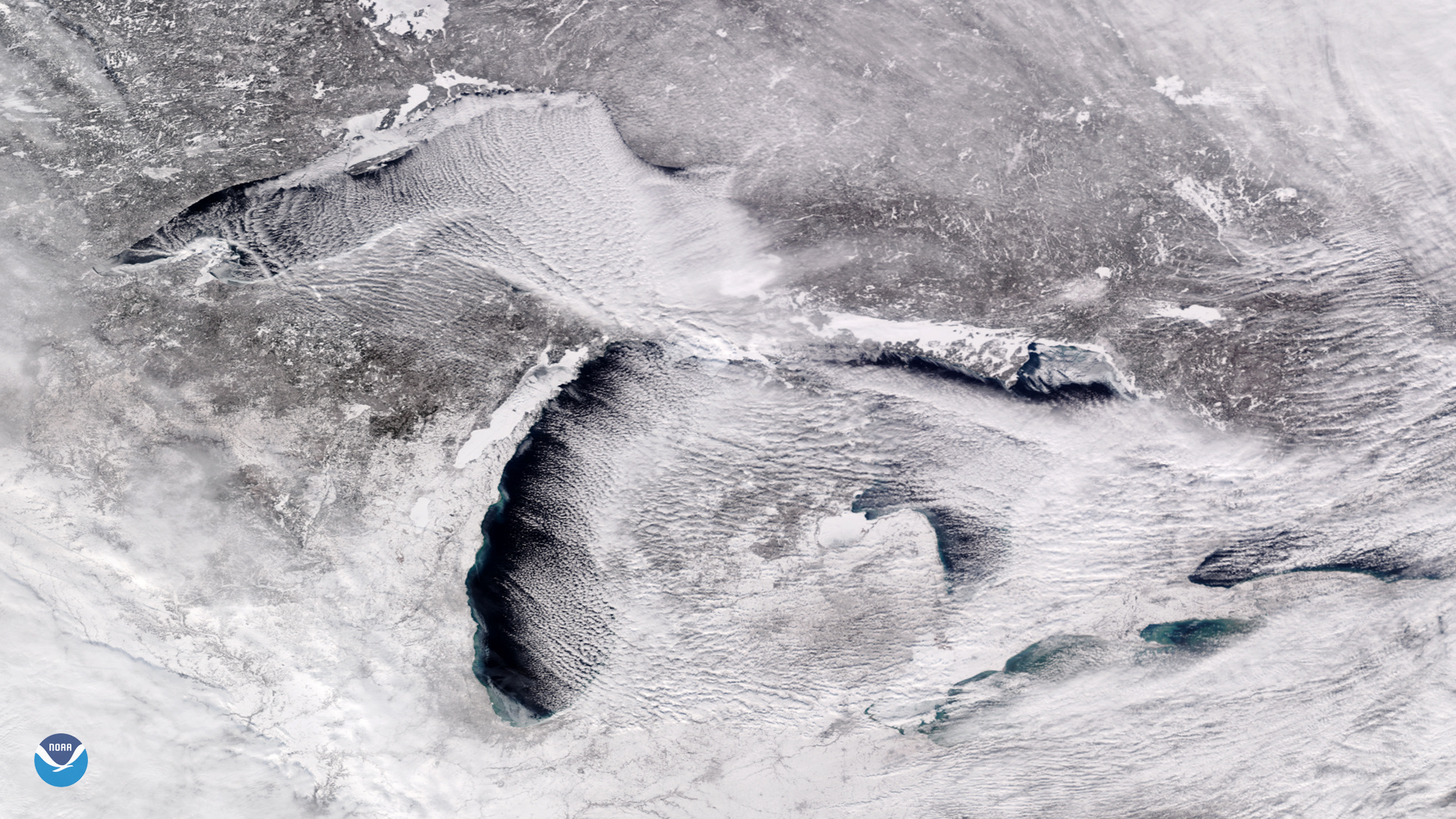 "Handout photo of a satellite image taken over the Great Lakes showing rows of cumulus clouds also known as ""cloud streets"" streaming over the lakes' surface, caused by the frigid weather"