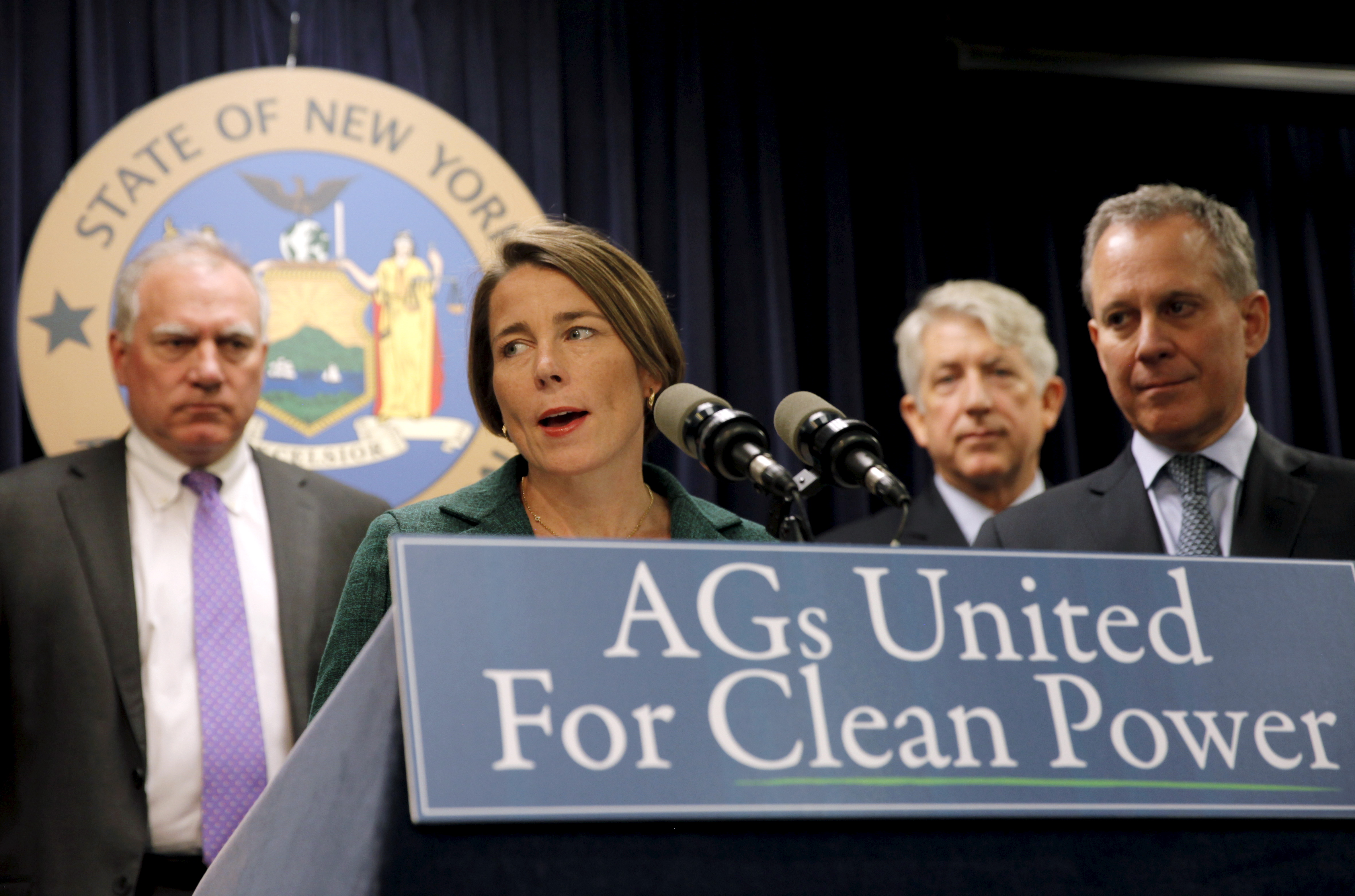 Massachusetts Attorney General Maura Healey speaks at a news conference with New York Attorney General Eric Schneiderman and other U.S. State Attorney's General to announce a state-based effort to combat climate change in the Manhattan borough of New York