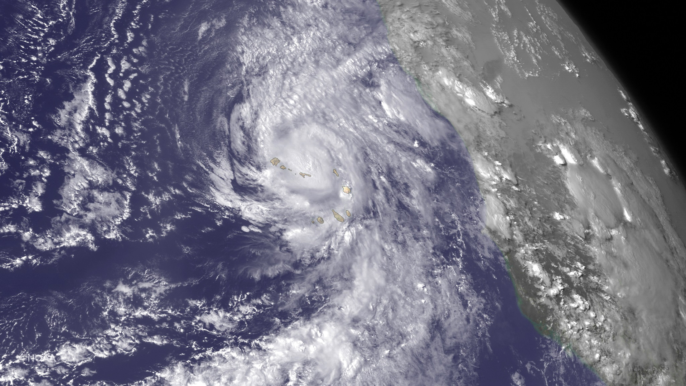 Hurricane Fred is seen near the Cape Verde Islands in this NOAA Goes East satellite image