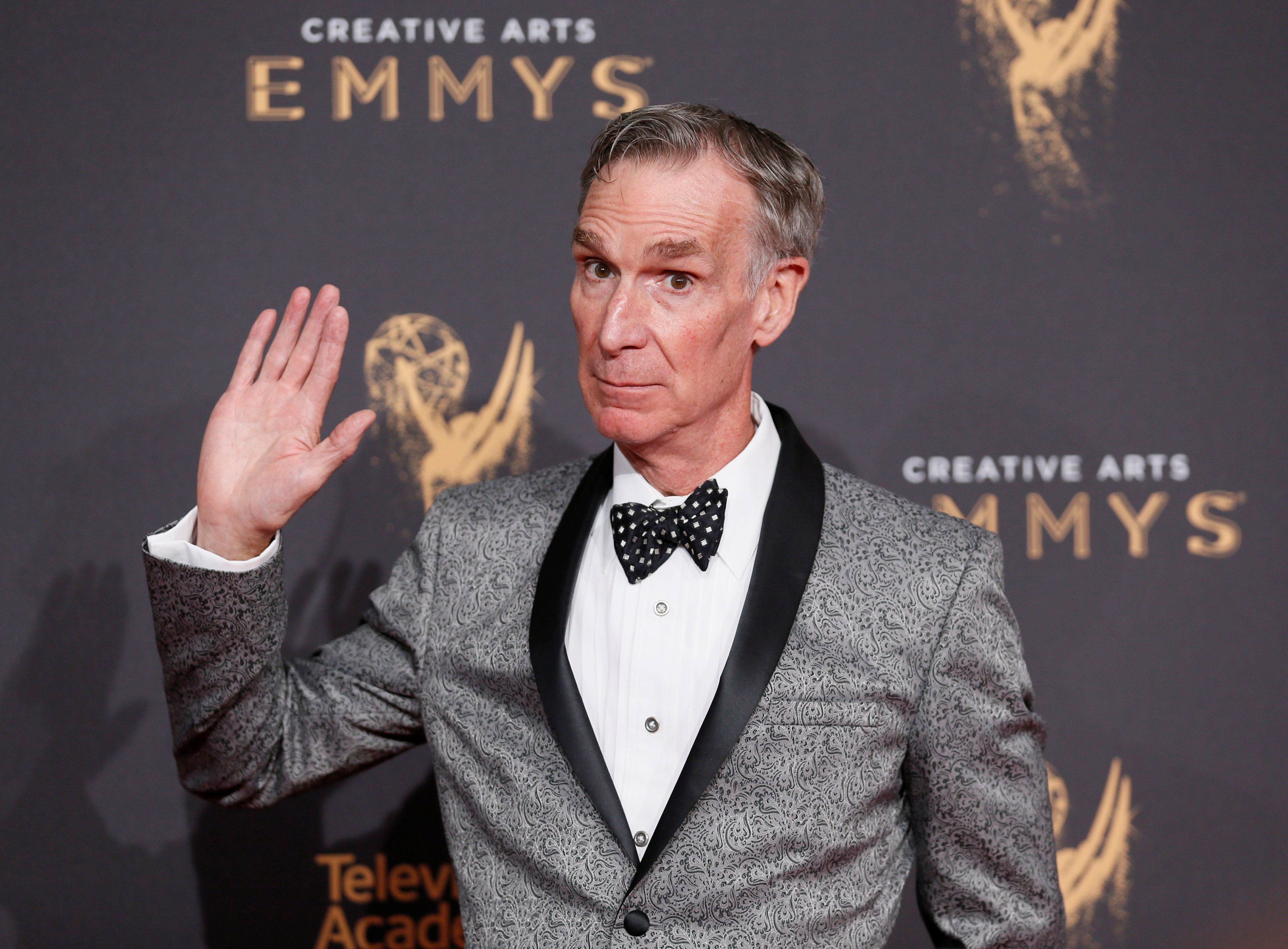 Television personality Bill Nye poses at the 2017 Creative Arts Emmy Awards in Los Angeles, California