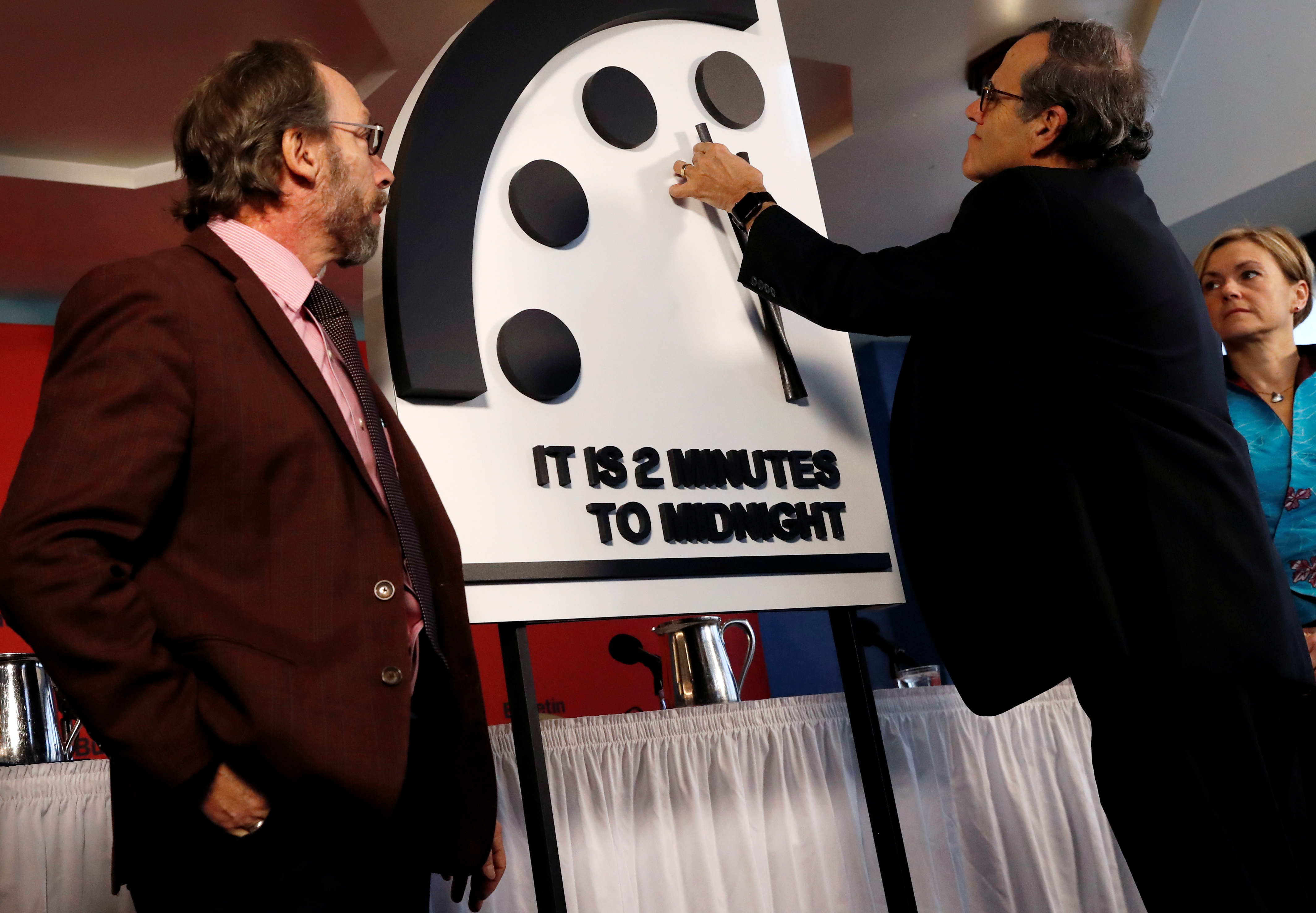 Bulletin of the Atomic Scientists move the 'Doomsday Clock' hands to two minutes until midnight in Washington