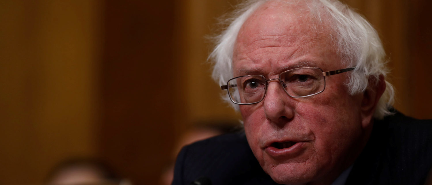 Sen. Bernie Sanders (I-VT) speaks before Office of Management and Budget Director Mick Mulvaney testifies about the President's 2019 budget before the Senate Budget Committee on Capitol Hill in Washington, U.S., February 13, 2018. REUTERS/Aaron P. Bernstein.