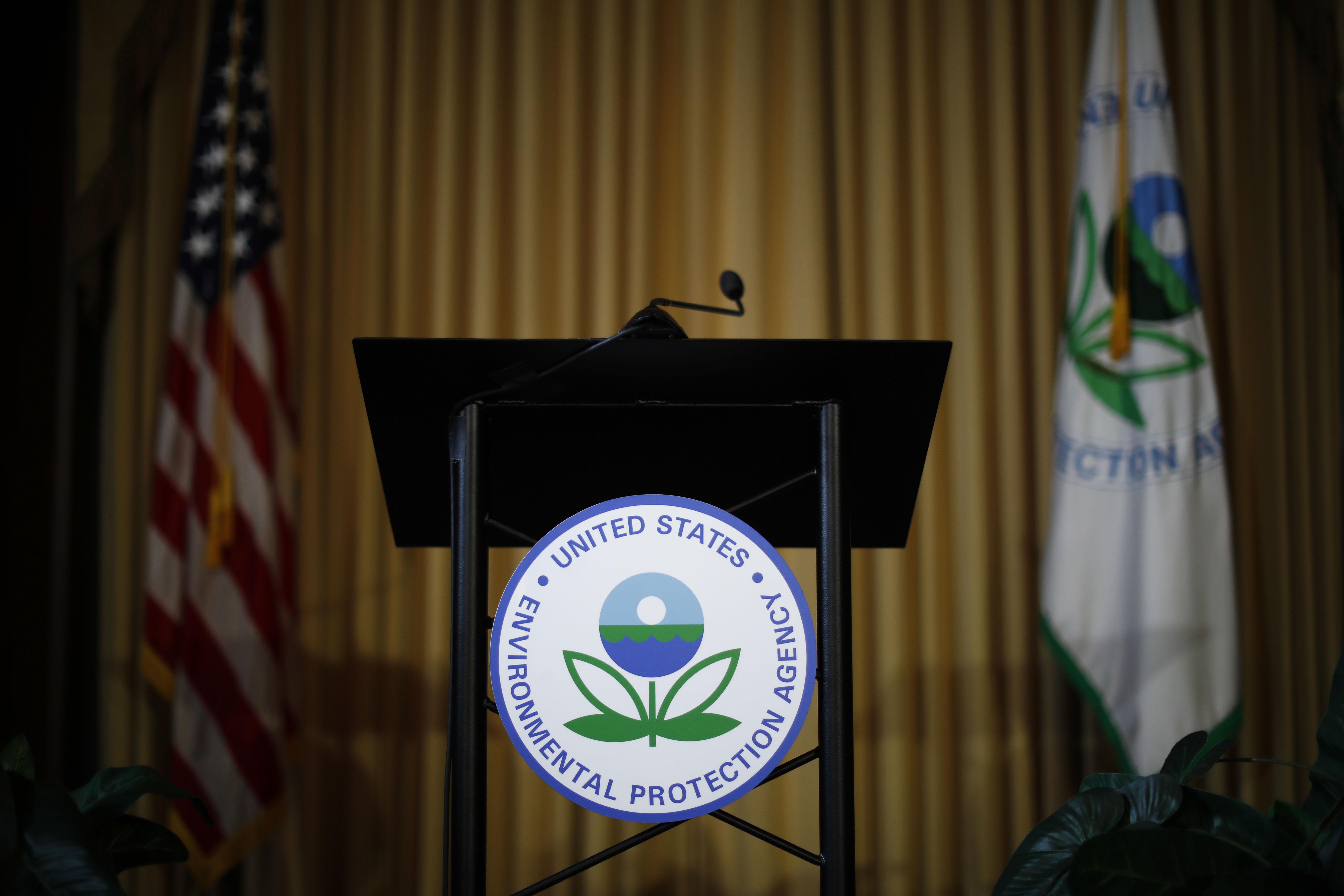 Podium awaits the arrival of U.S. EPA Acting Administrator Andrew Wheeler to address staff at EPA Headquarters in Washington